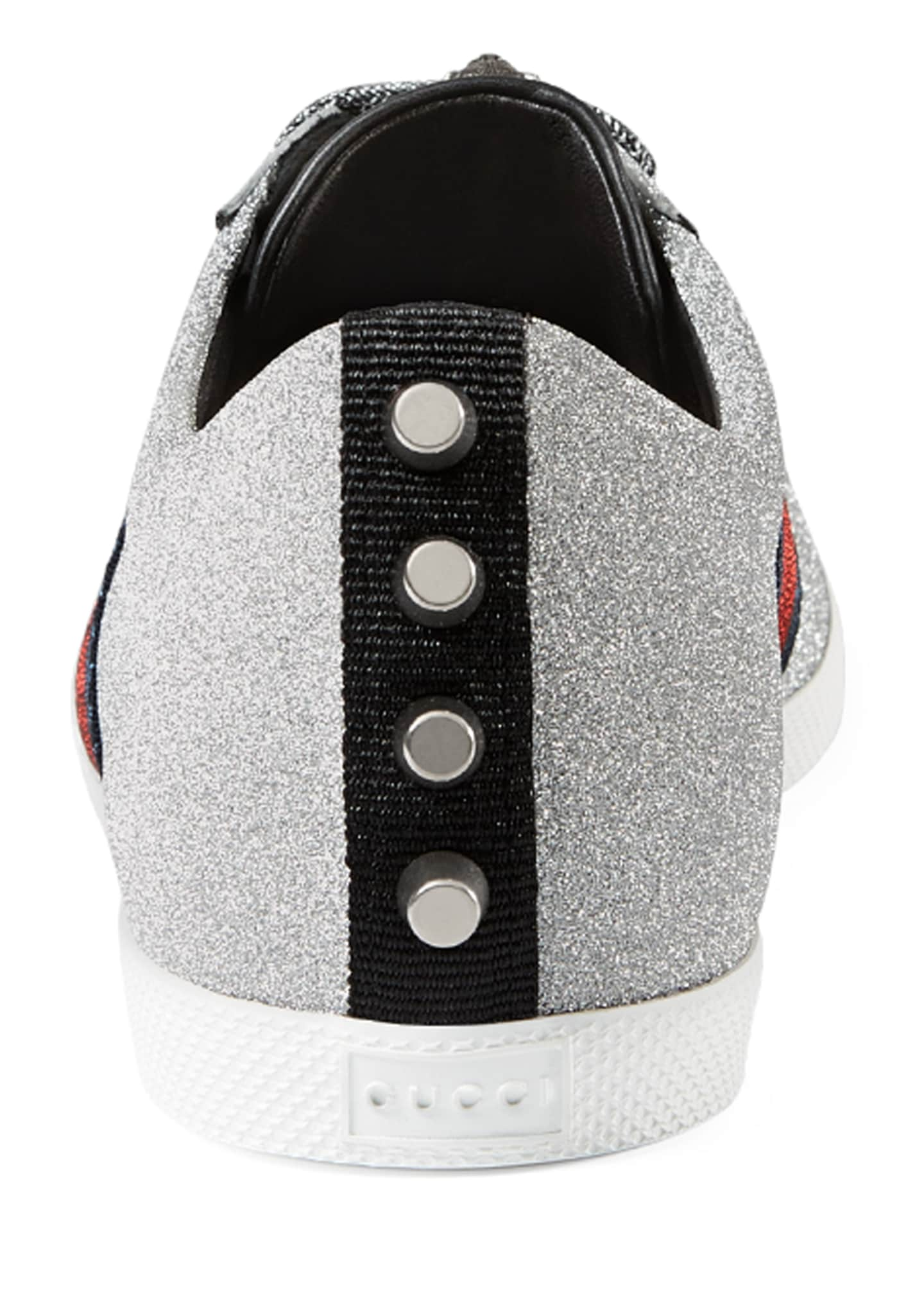 Image 4 of 4: Men's Bambi Web Low-Top Sneakers with Stud Detail, Silver