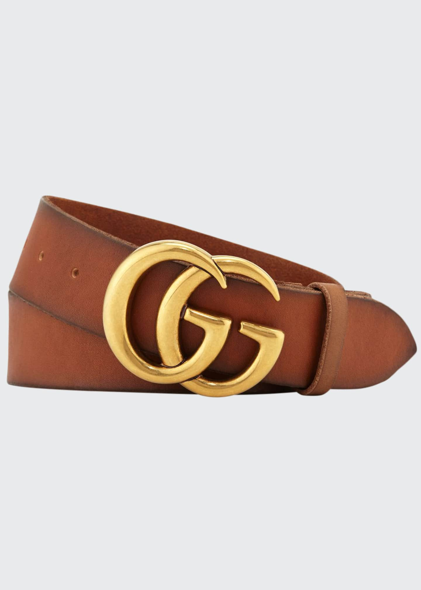 Image 1 of 1: Men's Leather Belt with Double-G Buckle