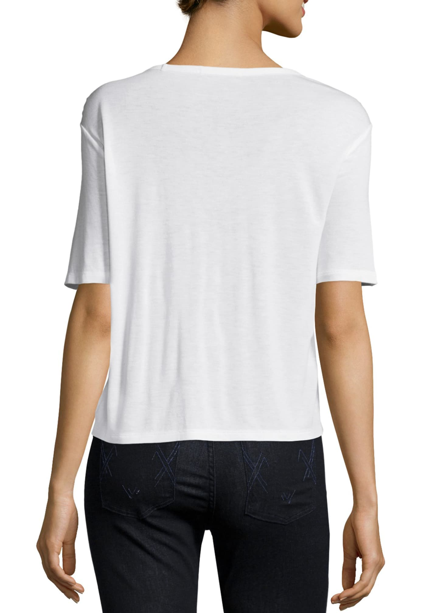 Image 2 of 2: Classic Cropped Tee w/ Pocket, White