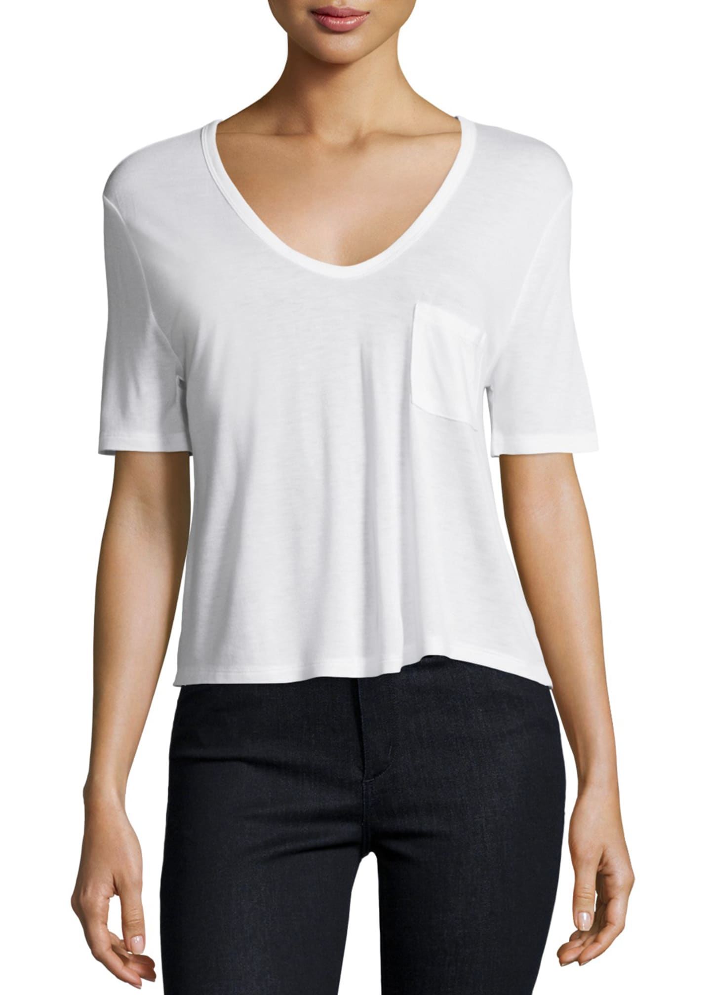 Image 1 of 2: Classic Cropped Tee w/ Pocket, White