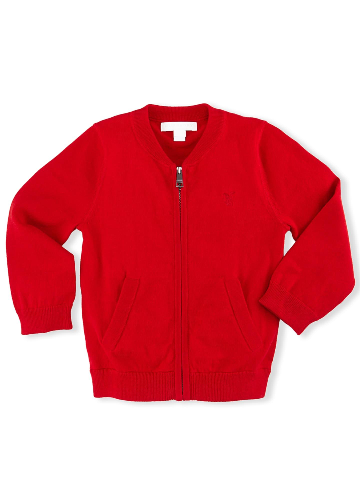 Burberry Jaxson Zip-Front Cotton Cardigan, Red, Size 6M-3