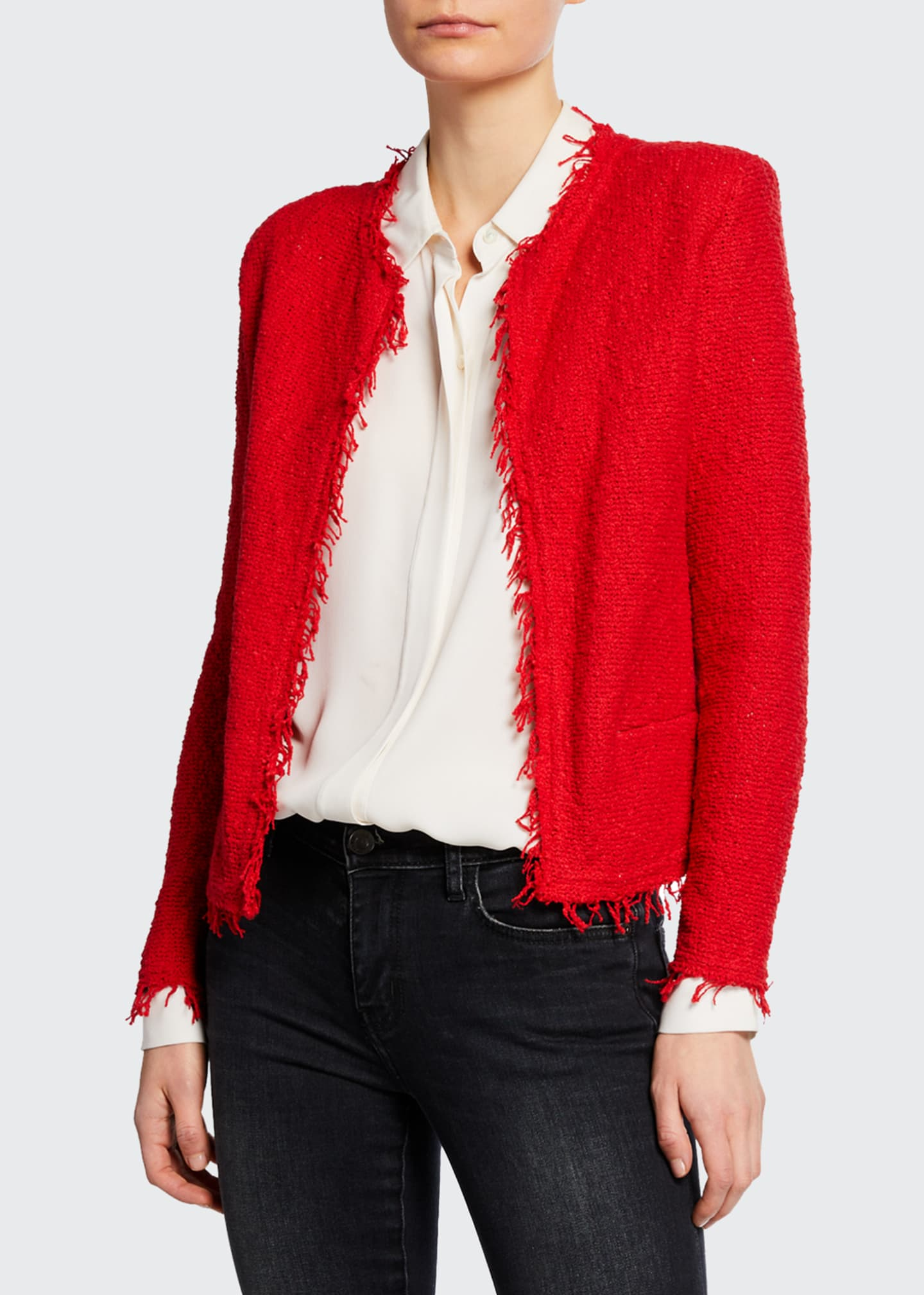 Image 1 of 2: Shavani Open-Front Boucle Jacket