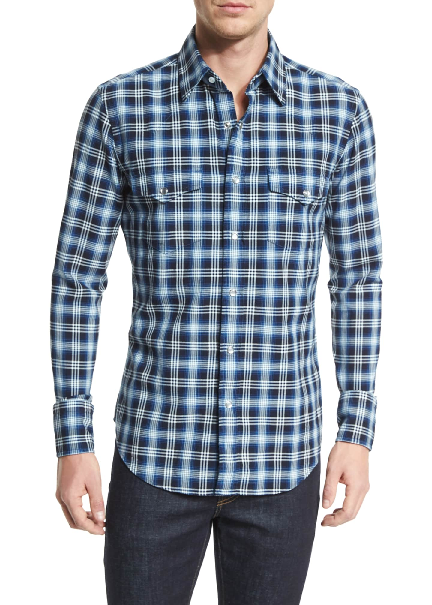 TOM FORD Western-Style Bicolor Check Sport Shirt, Indigo
