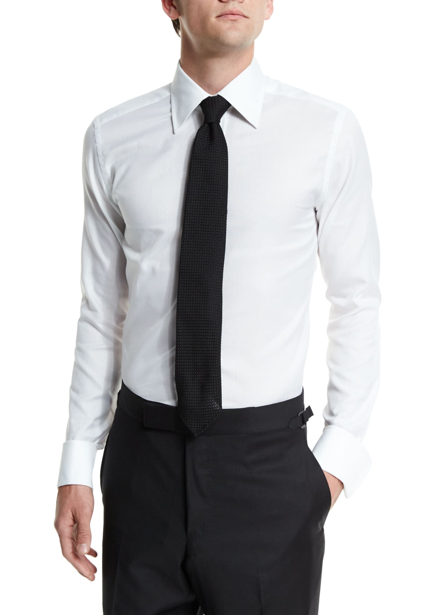 Image 3 of 4: Classic French-Cuff Slim-Fit Dress Shirt, White