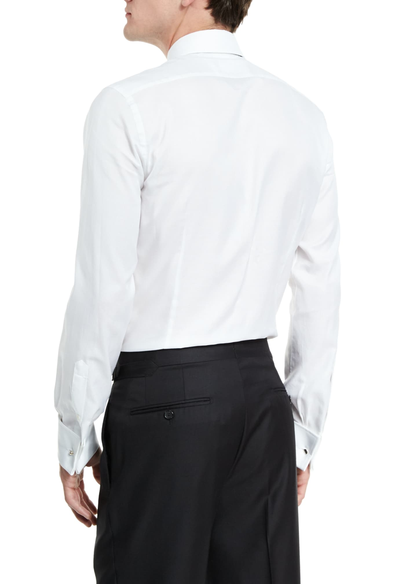 Image 4 of 4: Classic French-Cuff Slim-Fit Dress Shirt, White