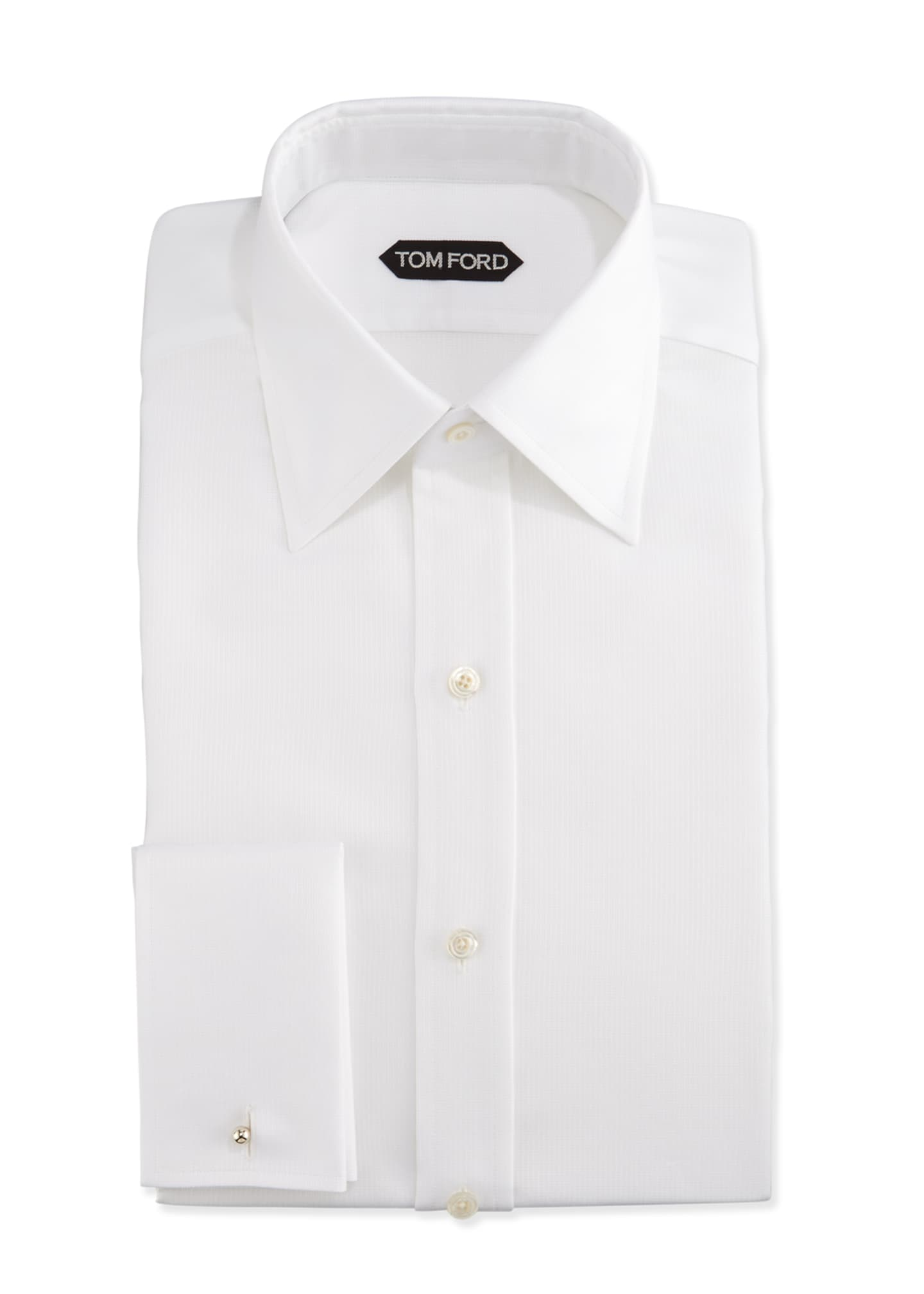Image 1 of 4: Classic French-Cuff Slim-Fit Dress Shirt, White