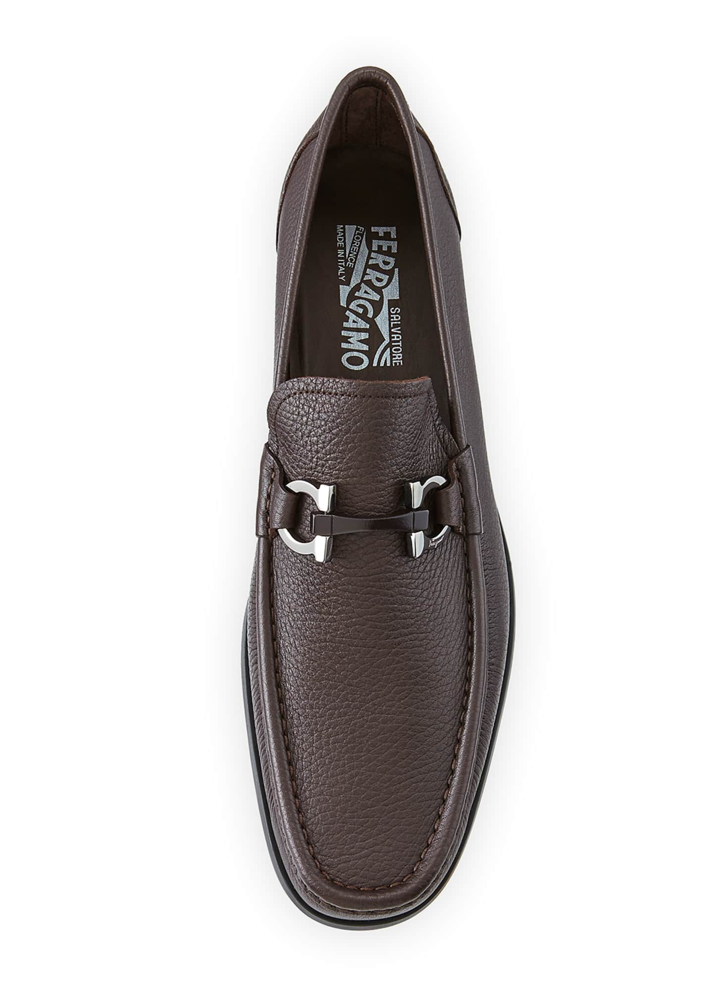 Image 2 of 5: Men's Textured Calfskin Gancini Loafer