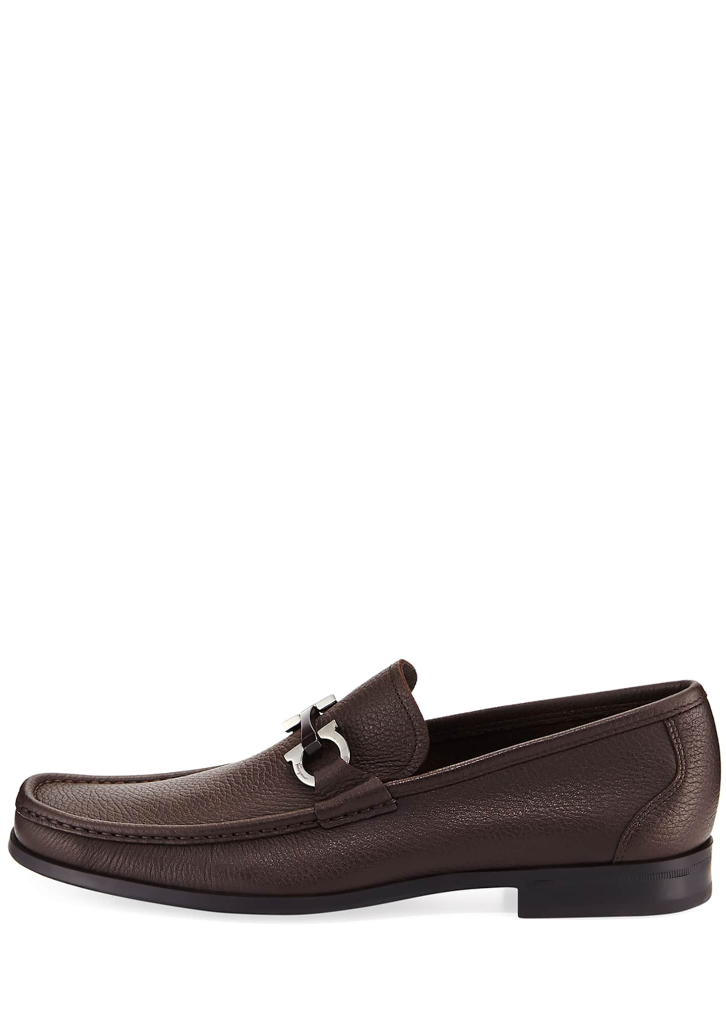 Image 3 of 5: Men's Textured Calfskin Gancini Loafer
