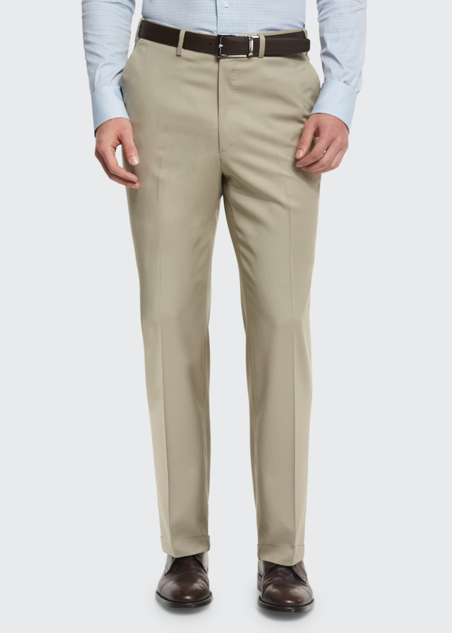 Image 2 of 3: Phi Flat-Front Solid Wool Trousers, Tan