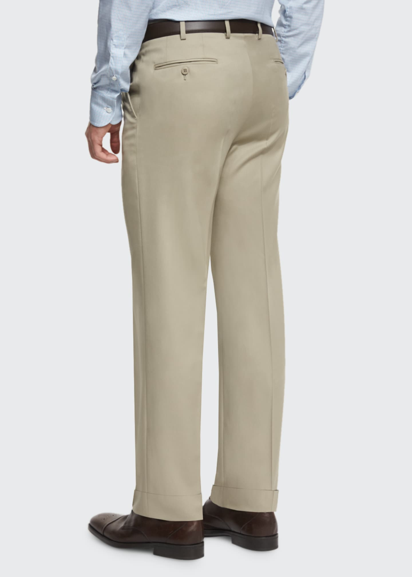 Image 3 of 3: Phi Flat-Front Solid Wool Trousers, Tan