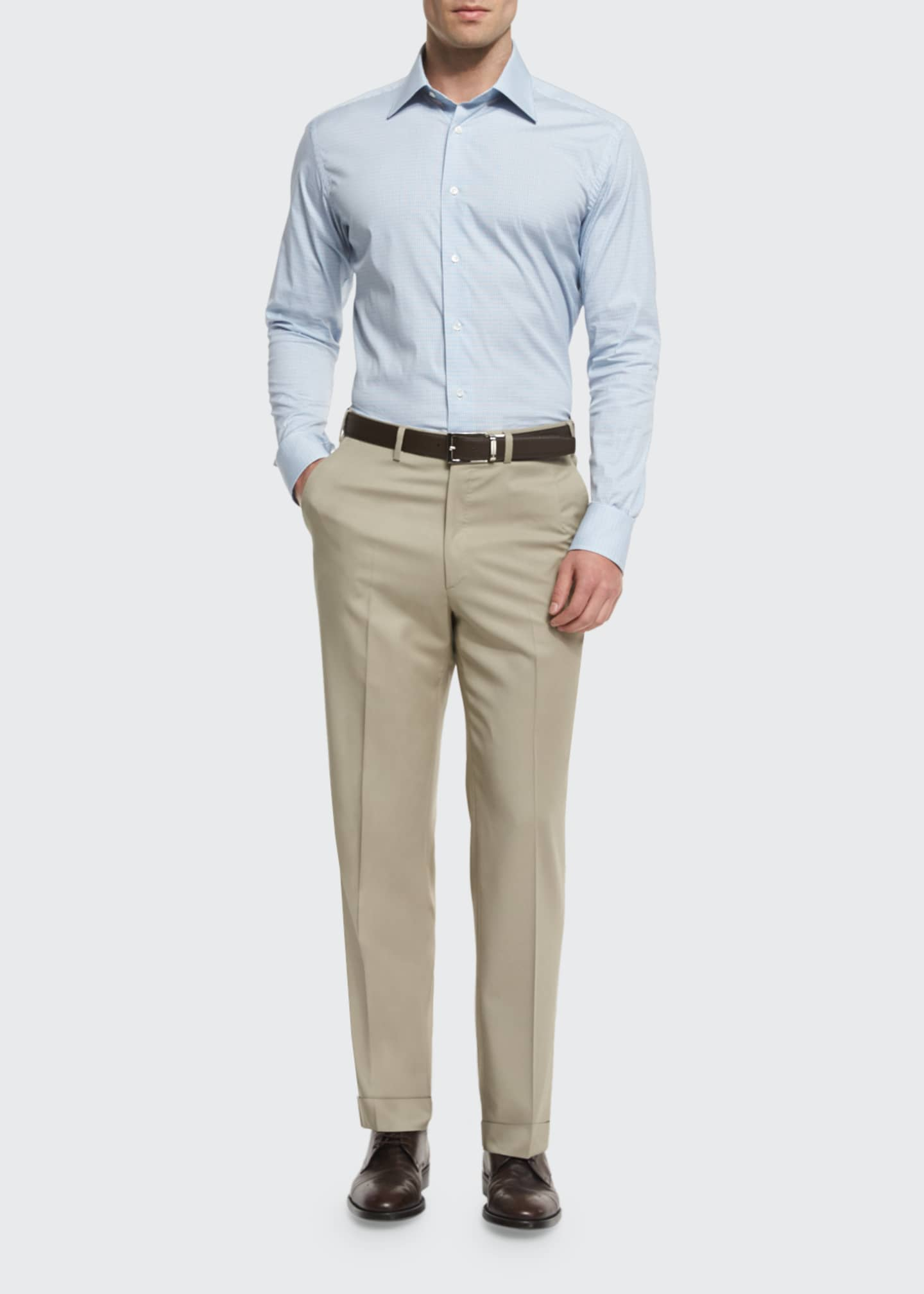Image 1 of 3: Phi Flat-Front Solid Wool Trousers, Tan