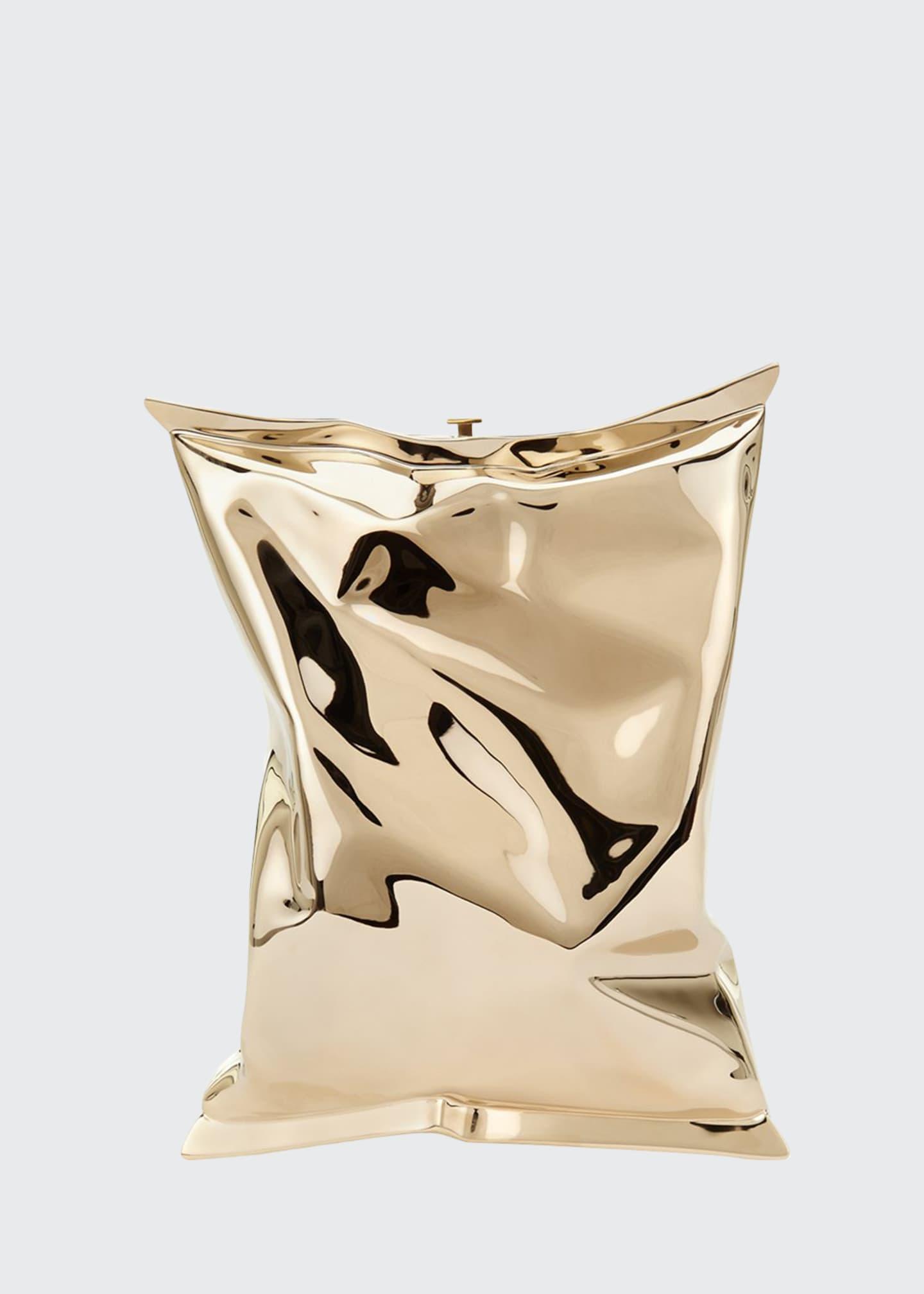 Anya Hindmarch Crisp Packet Metal Clutch Bag, Golden