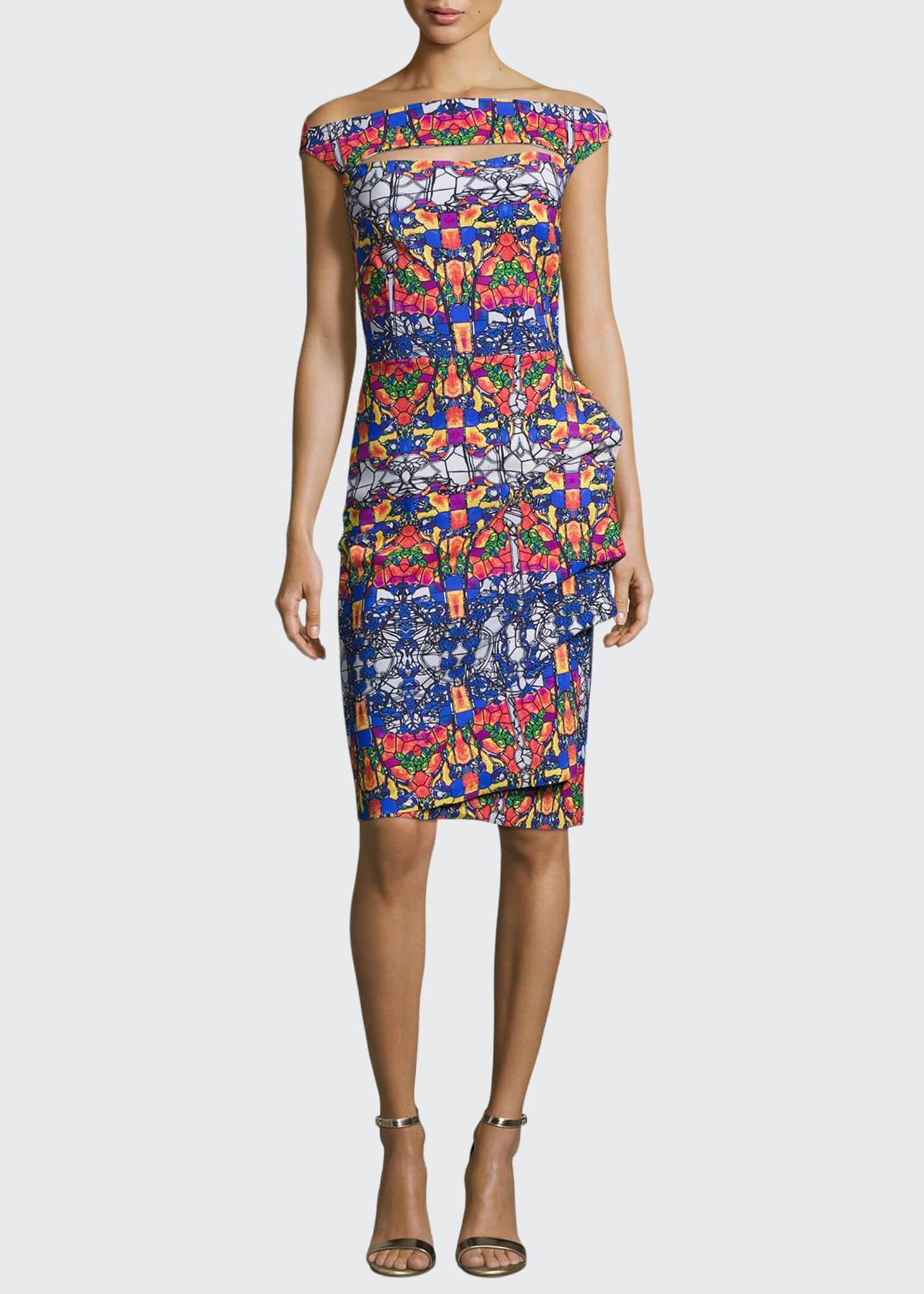 Chiara Boni La Petite Robe Off-the-Shoulder Printed Cutout