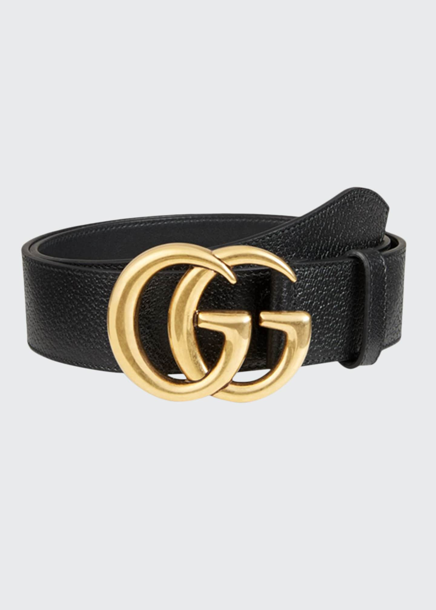 Gucci Men's Leather Belt with Double-G Buckle