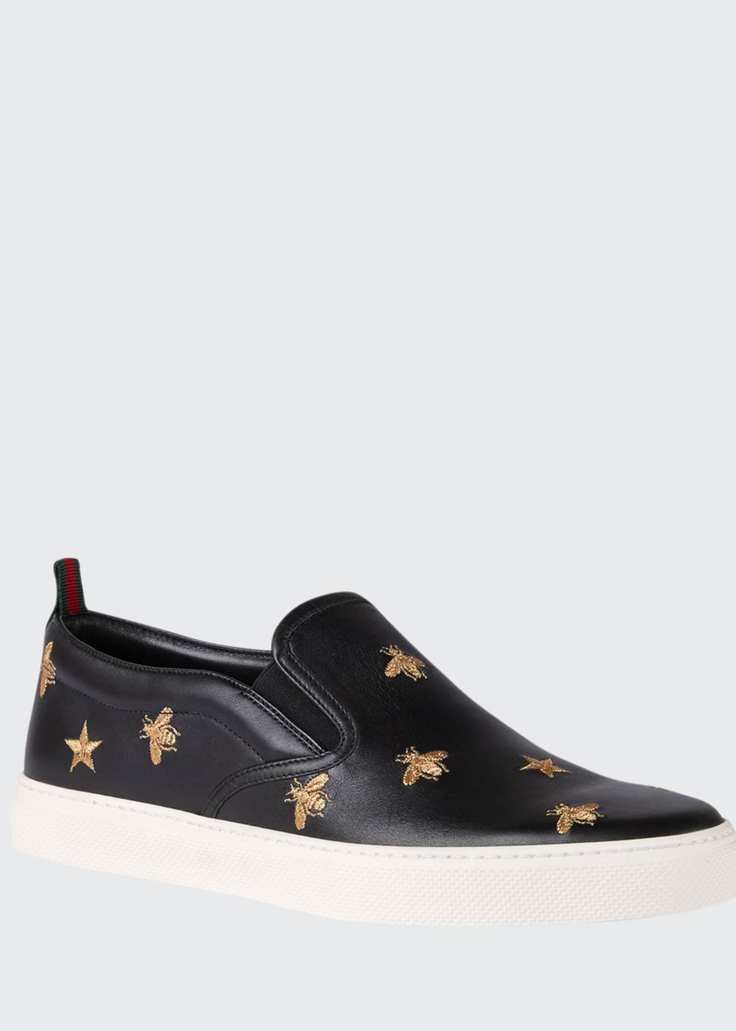 Gucci Men's Dublin Bee & Star Embroidered Leather