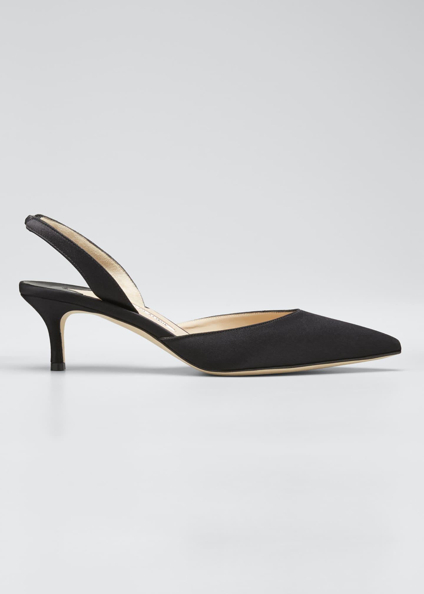 Manolo Blahnik Carolyne Satin Low-Heel Slingback Pumps, Black