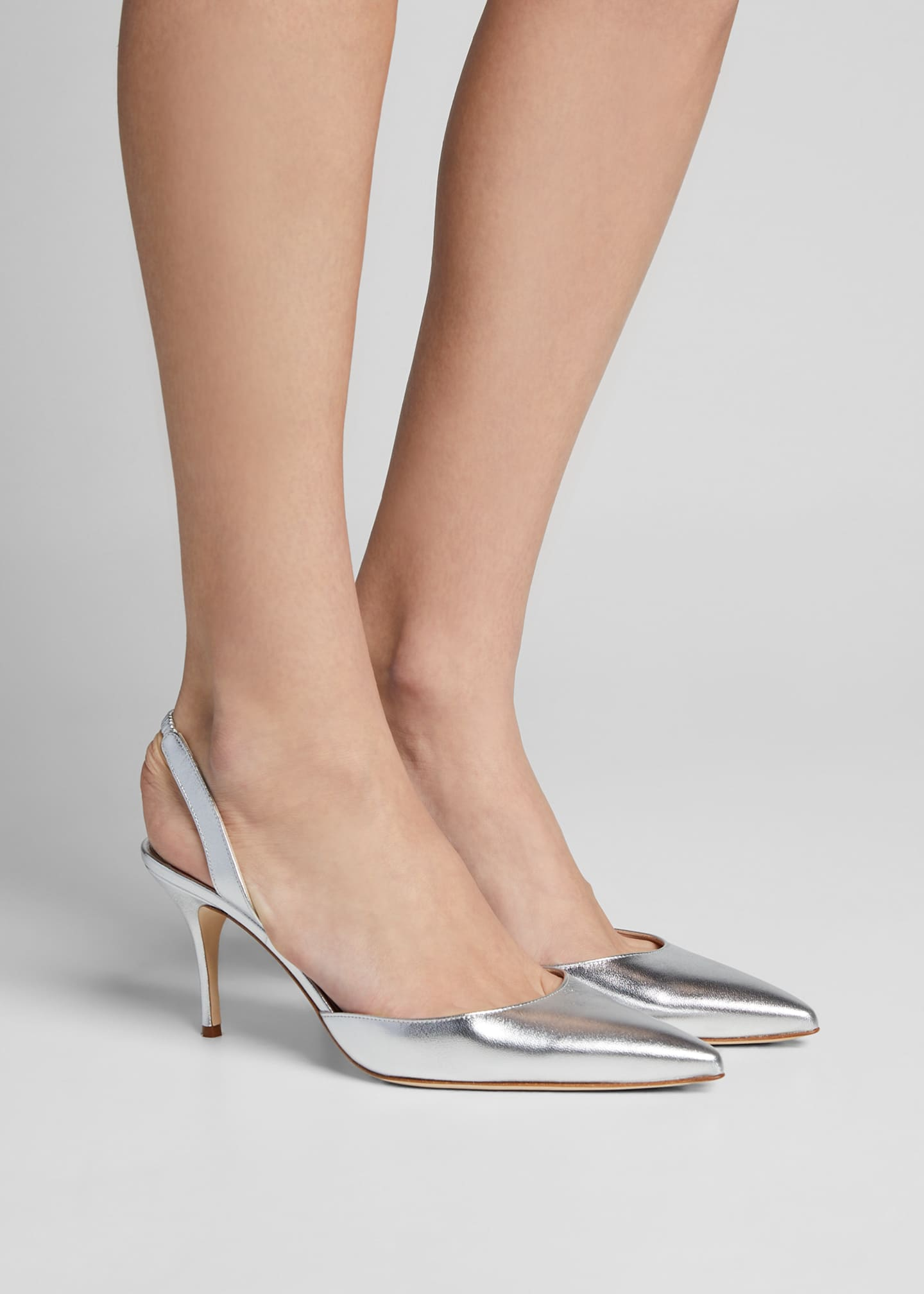 Image 2 of 5: Carolyne Metallic Leather Mid-Heel Slingback Pumps