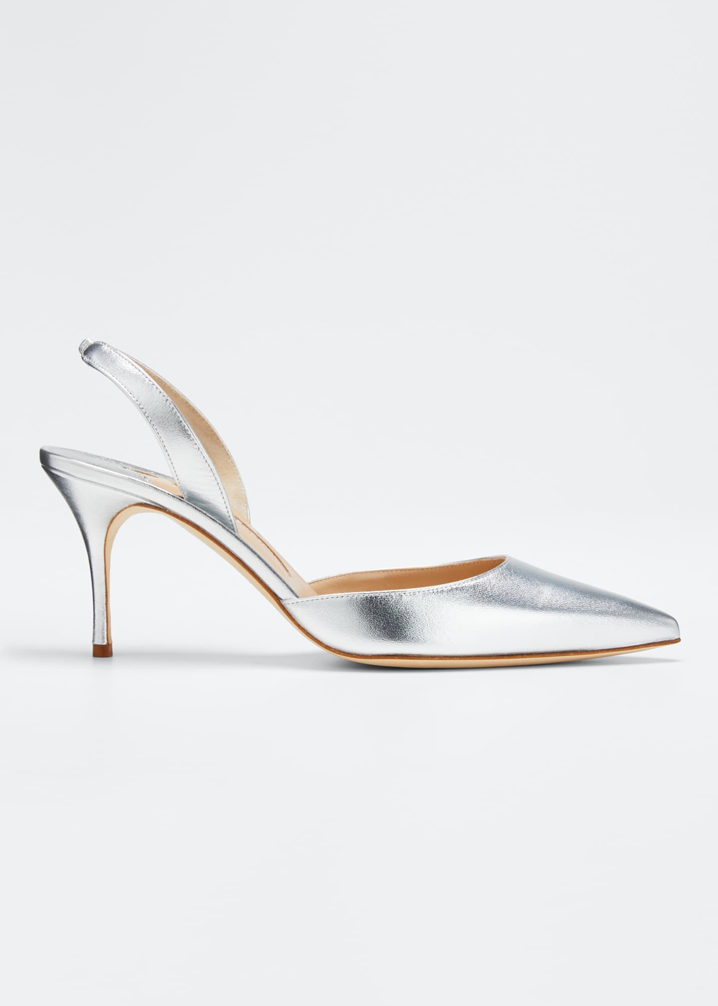 Image 1 of 5: Carolyne Metallic Leather Mid-Heel Slingback Pumps
