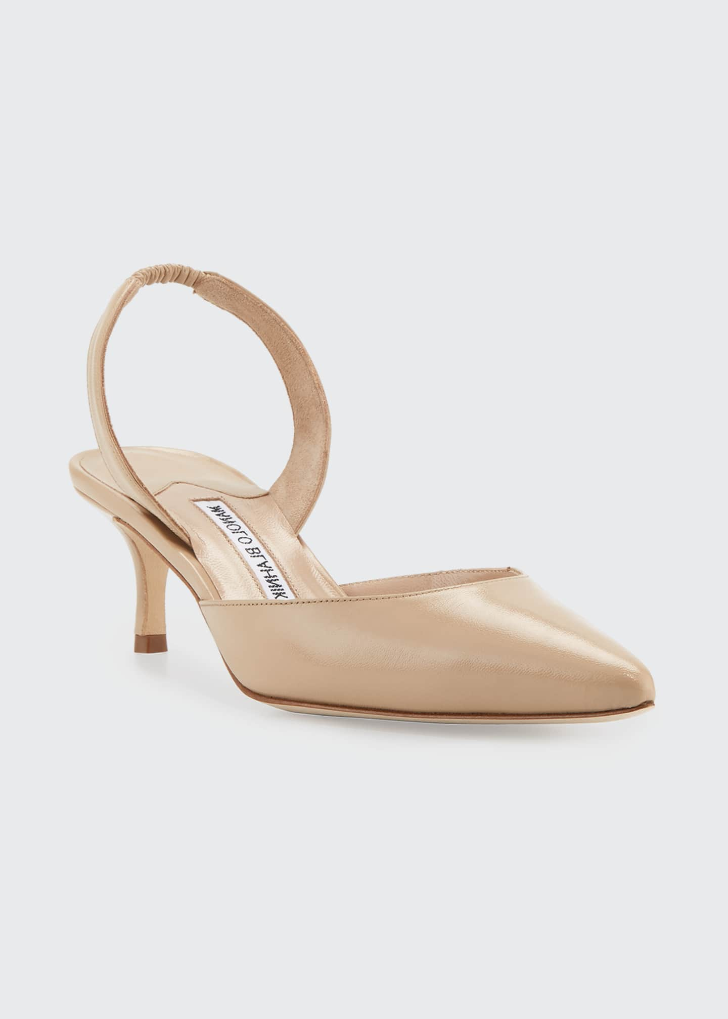 Manolo Blahnik Carolyne Leather Low-Heel Slingback Pump