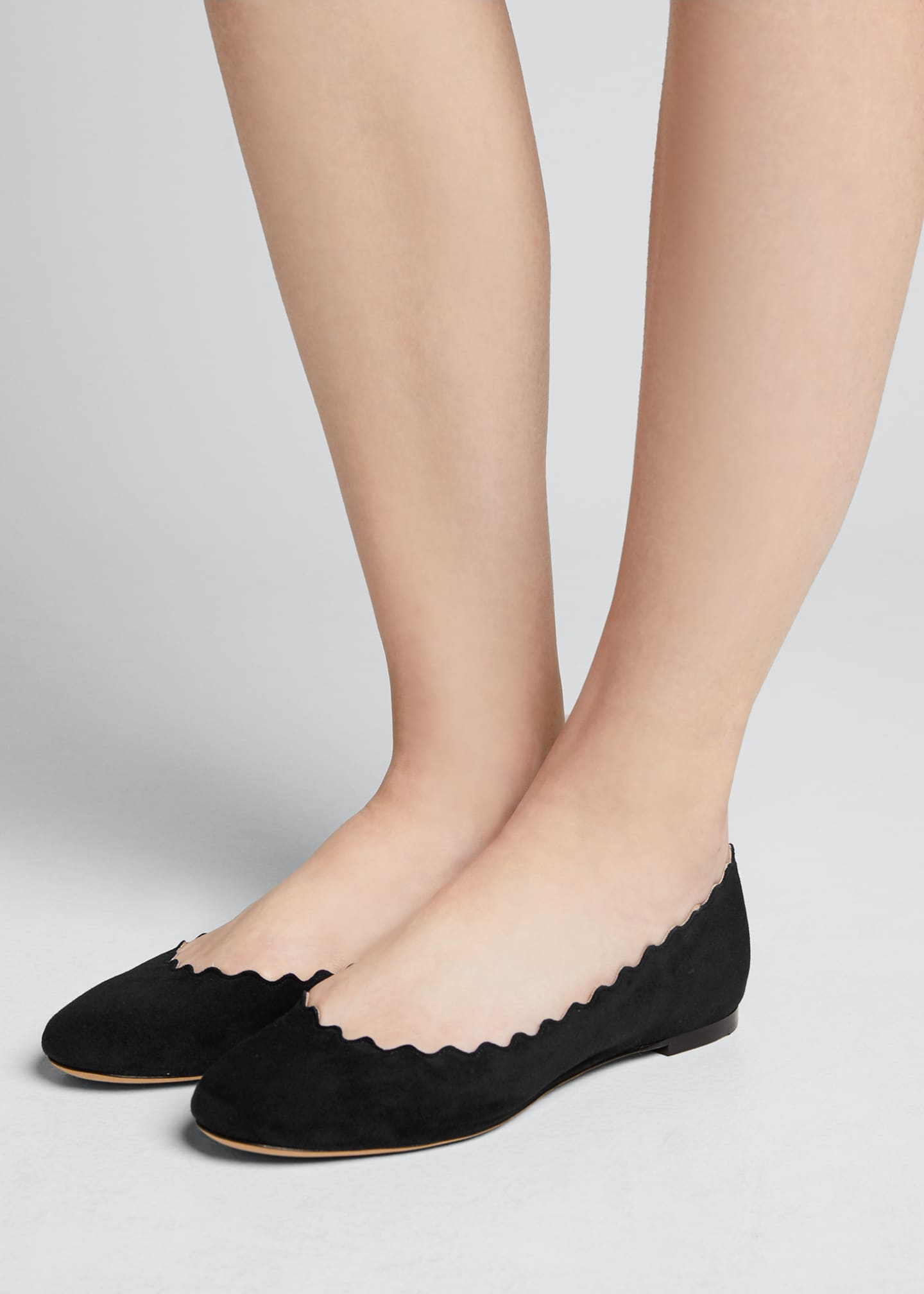 Image 2 of 5: Scalloped Suede Ballet Flats