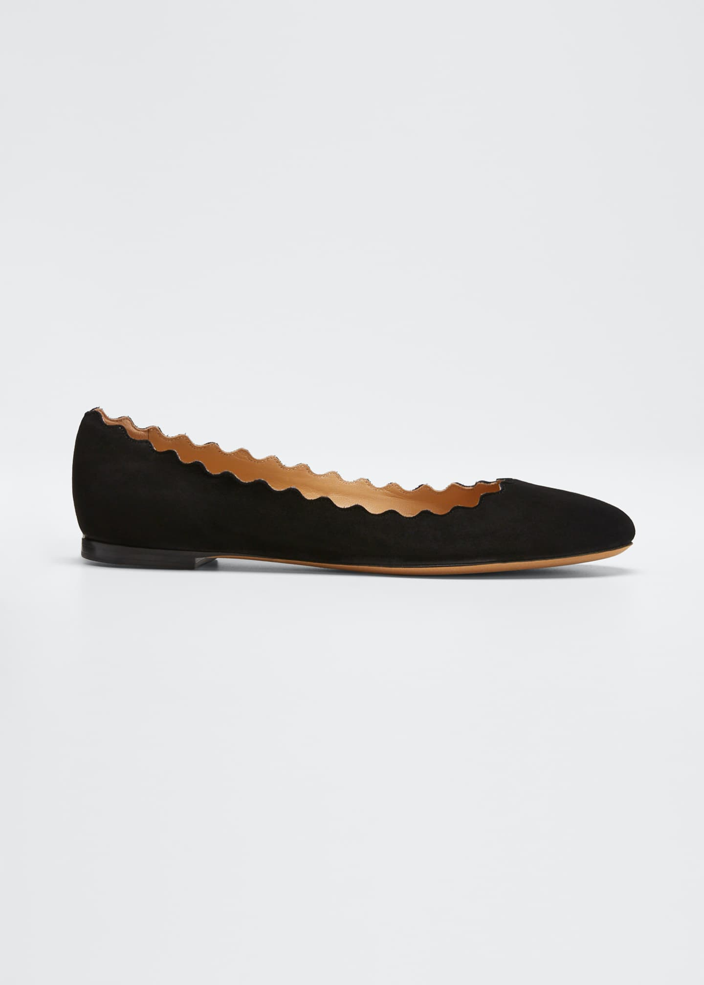 Image 1 of 5: Scalloped Suede Ballet Flats
