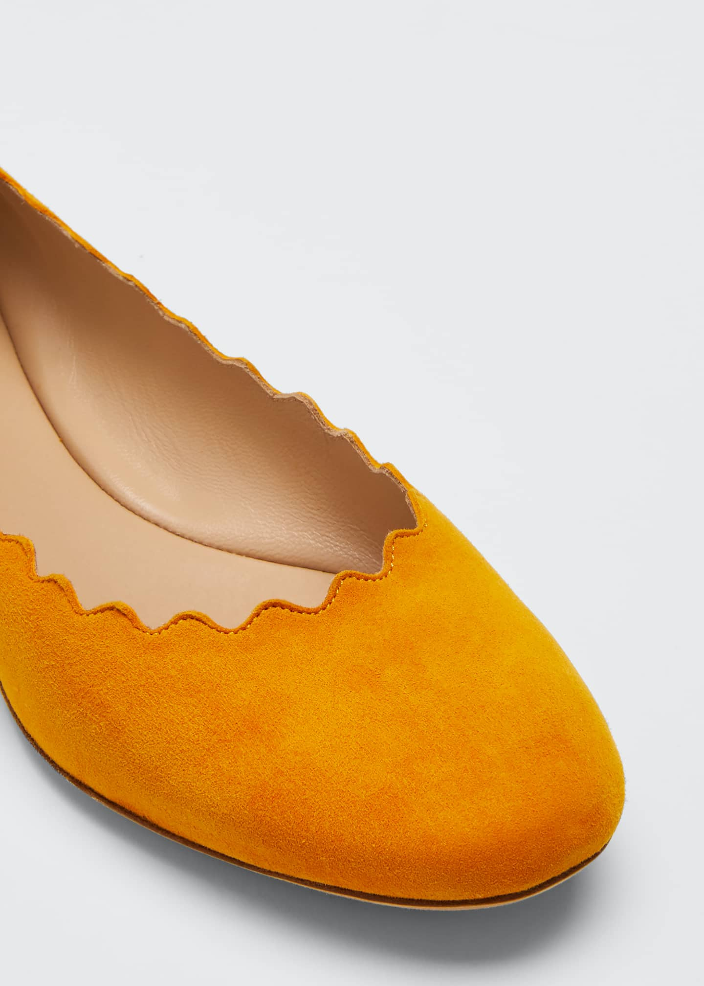 Image 5 of 5: Scalloped Suede Ballet Flats