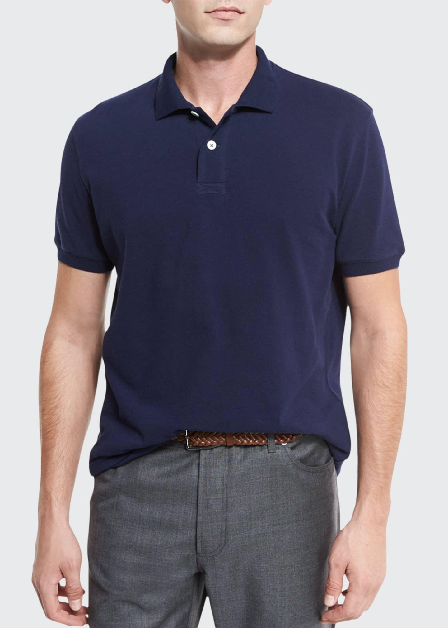Brunello Cucinelli Pique Polo Shirt, White