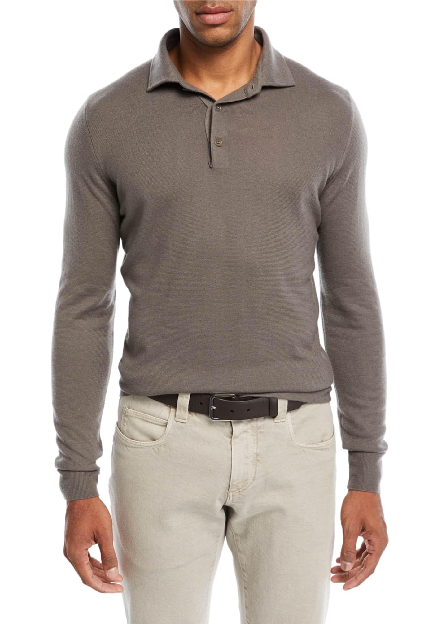 Loro Piana Superlight Baby Cashmere Long-Sleeve Polo Shirt