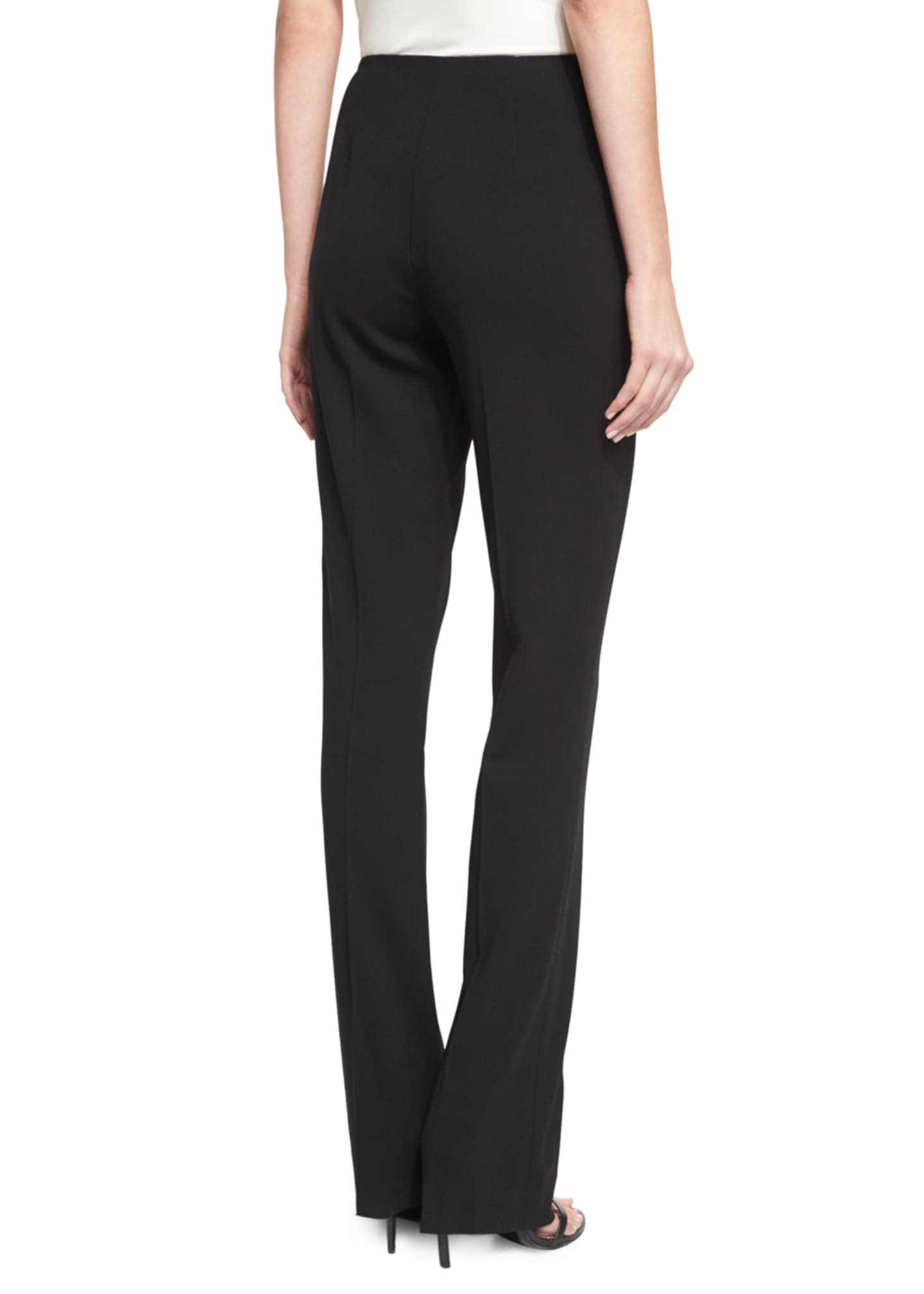 Image 2 of 3: Alandra Side-Zip Stretch-Wool Pants, Black