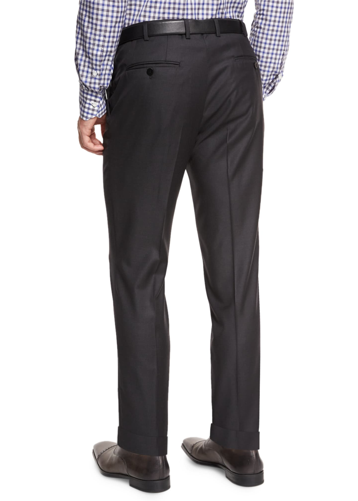 Image 2 of 3: Twill Flat-Front Trousers, Charcoal
