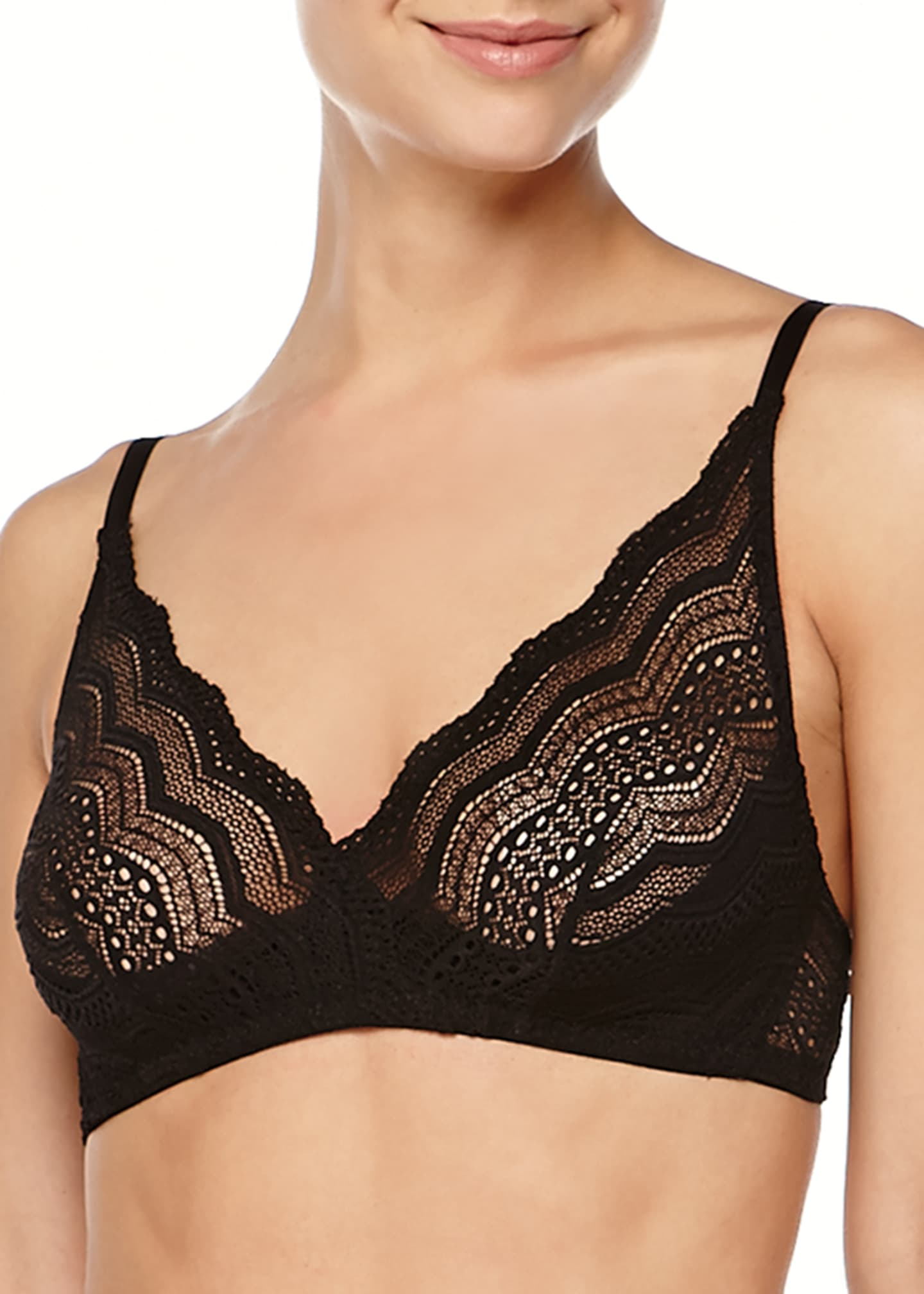 Image 1 of 2: Ceylon Chevron Lace Soft Bra
