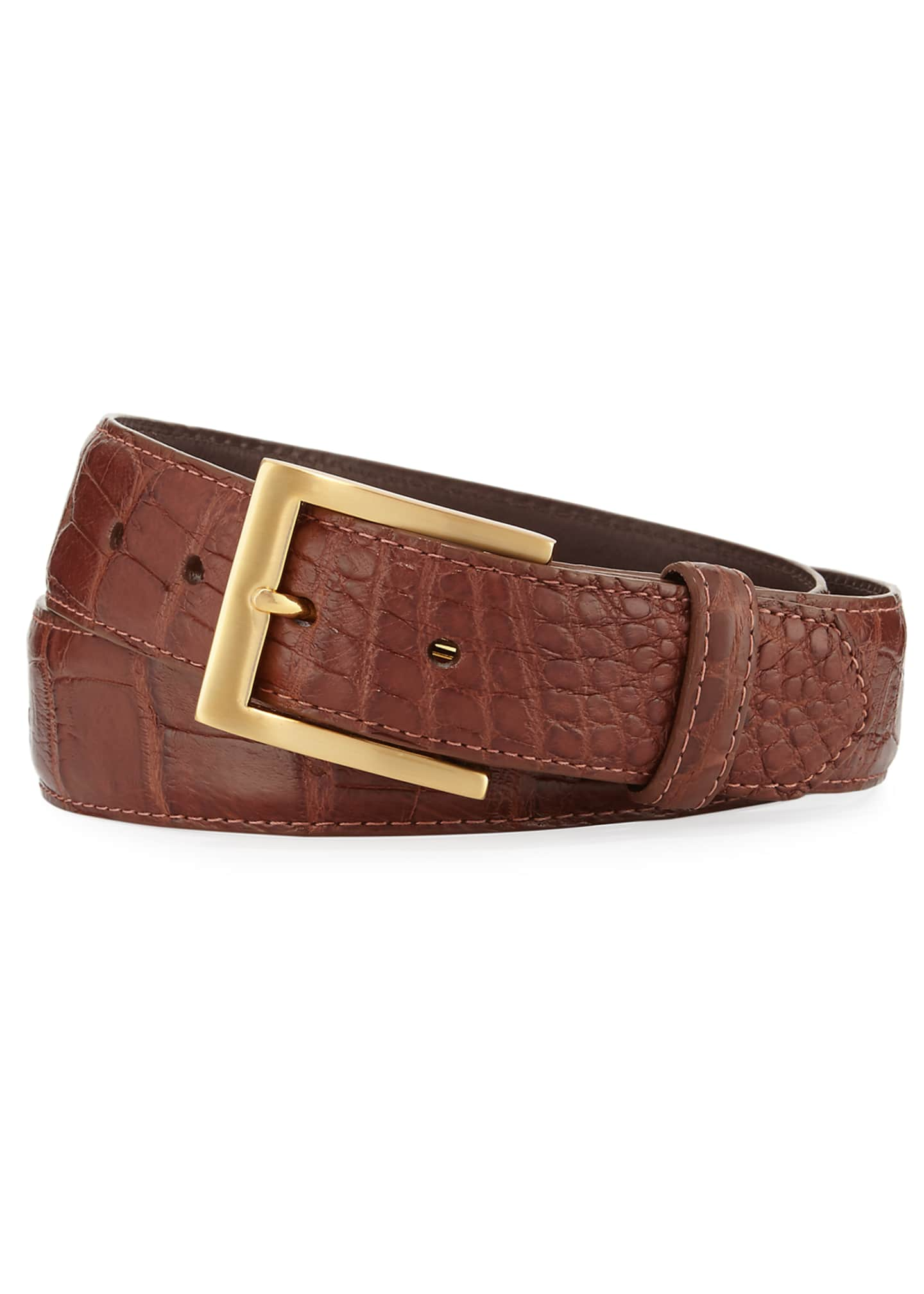 Image 2 of 2: Matte Alligator Belt with Interchangeable Buckles