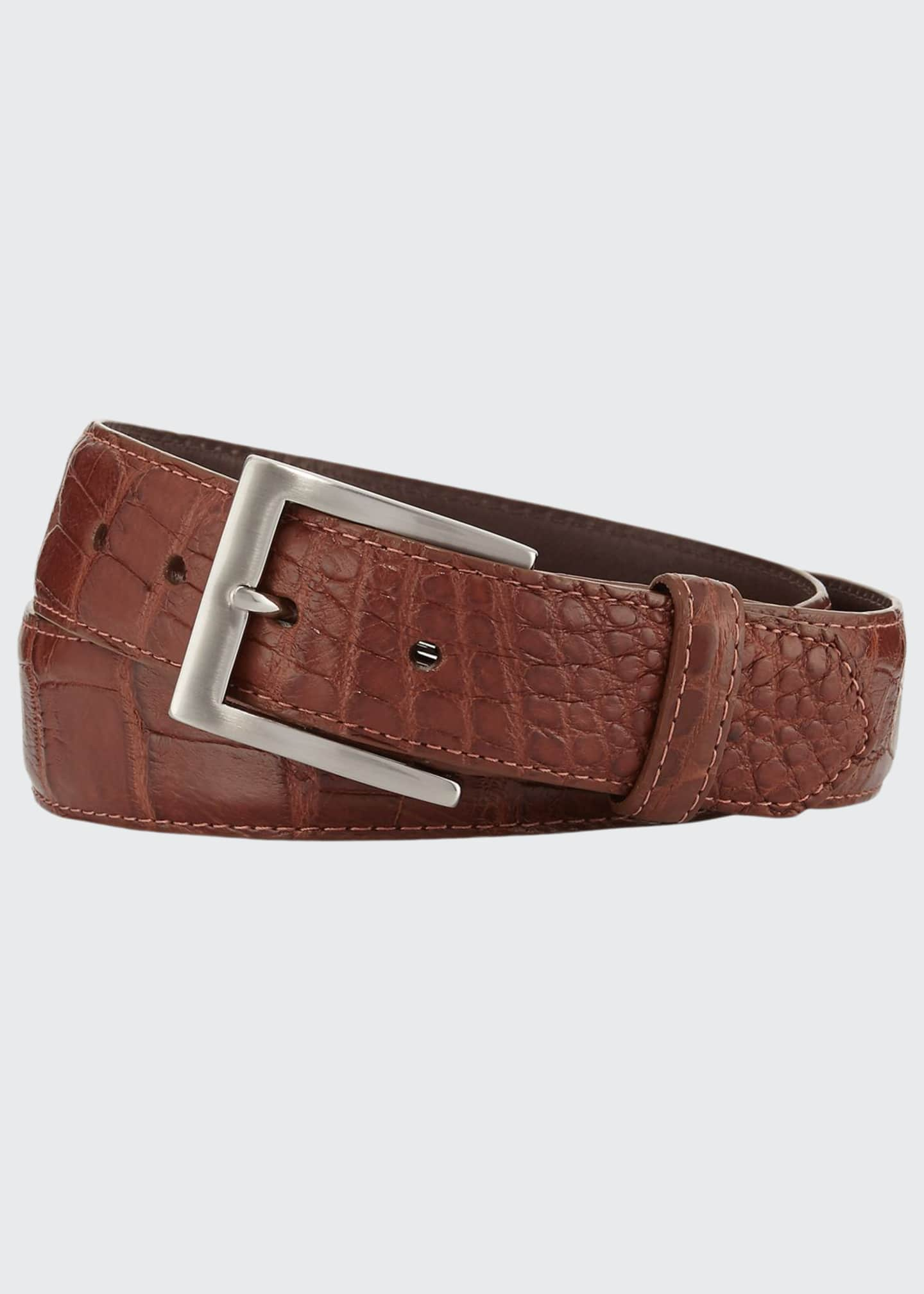 Image 1 of 2: Matte Alligator Belt with Interchangeable Buckles