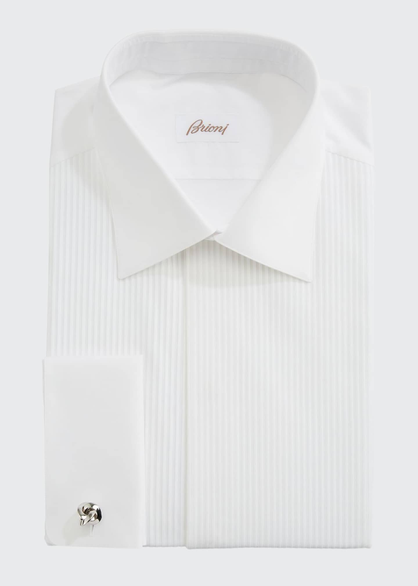 Image 1 of 2: Pleated Poplin French-Cuff Dress Shirt