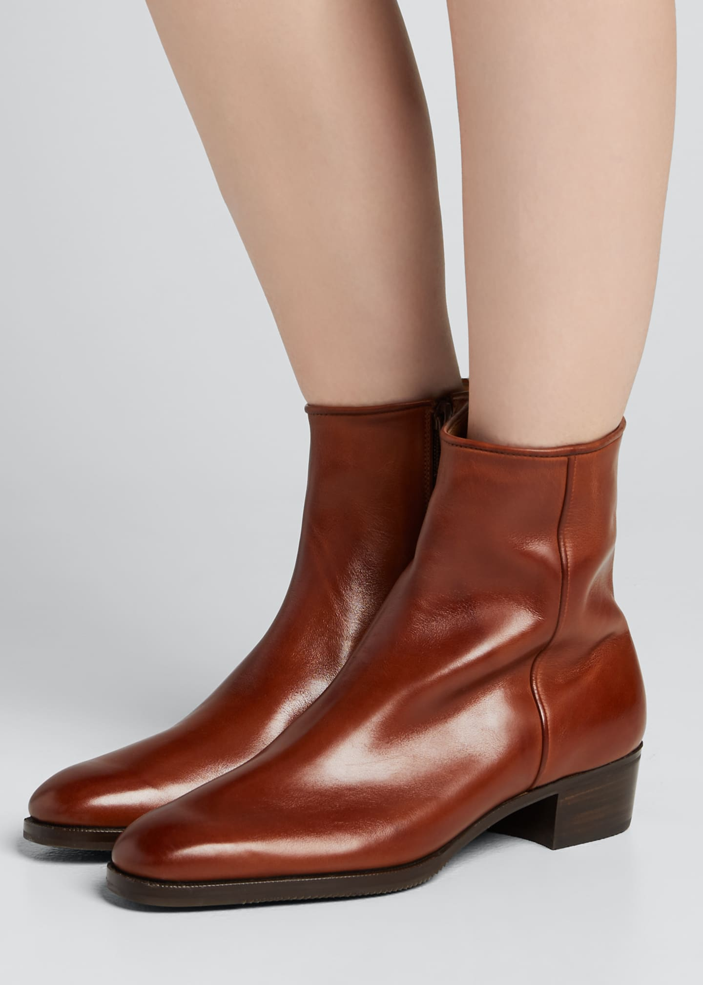 Image 2 of 5: Low-Heel Leather Zip Ankle Boot