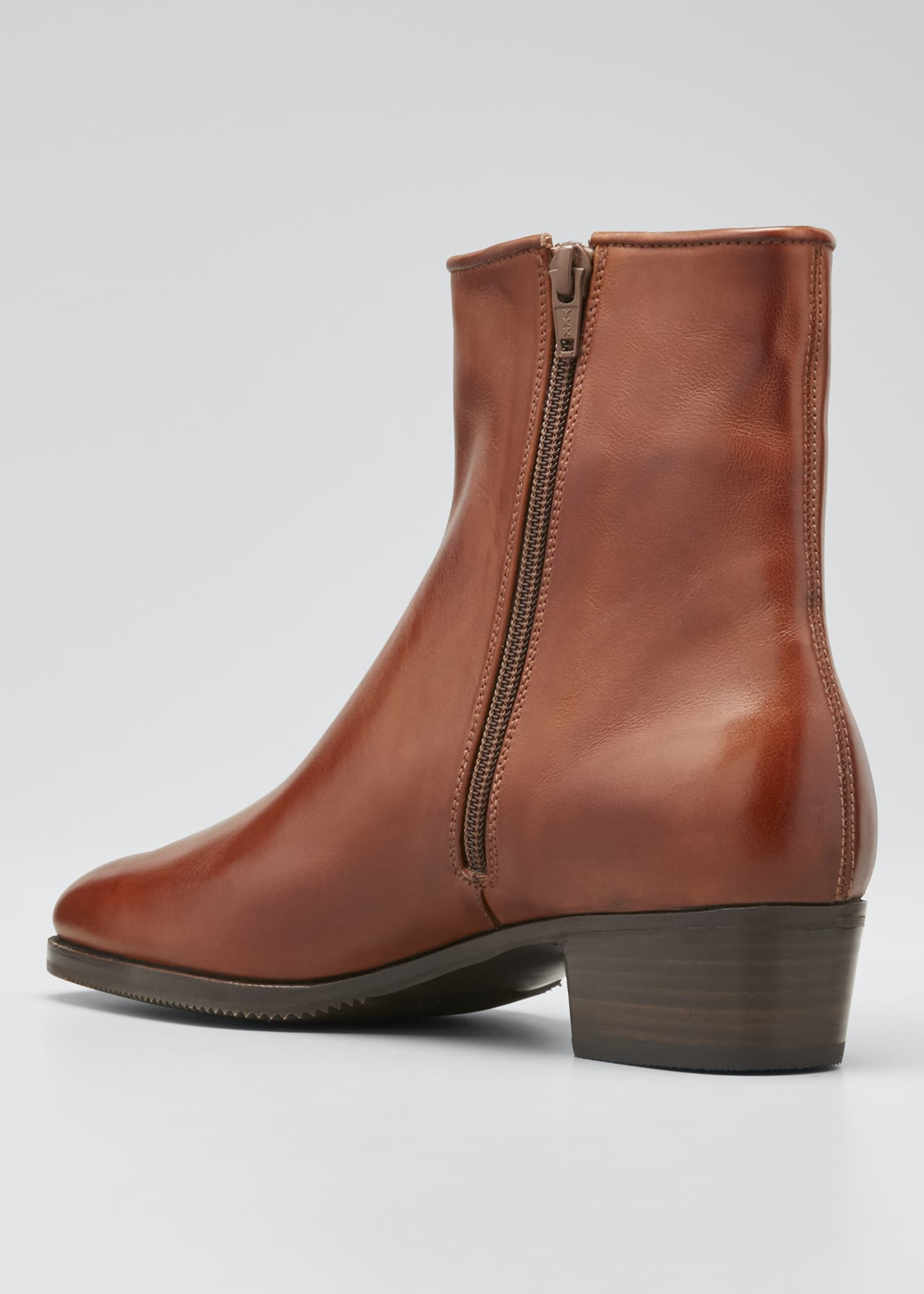Image 4 of 5: Low-Heel Leather Zip Ankle Boot