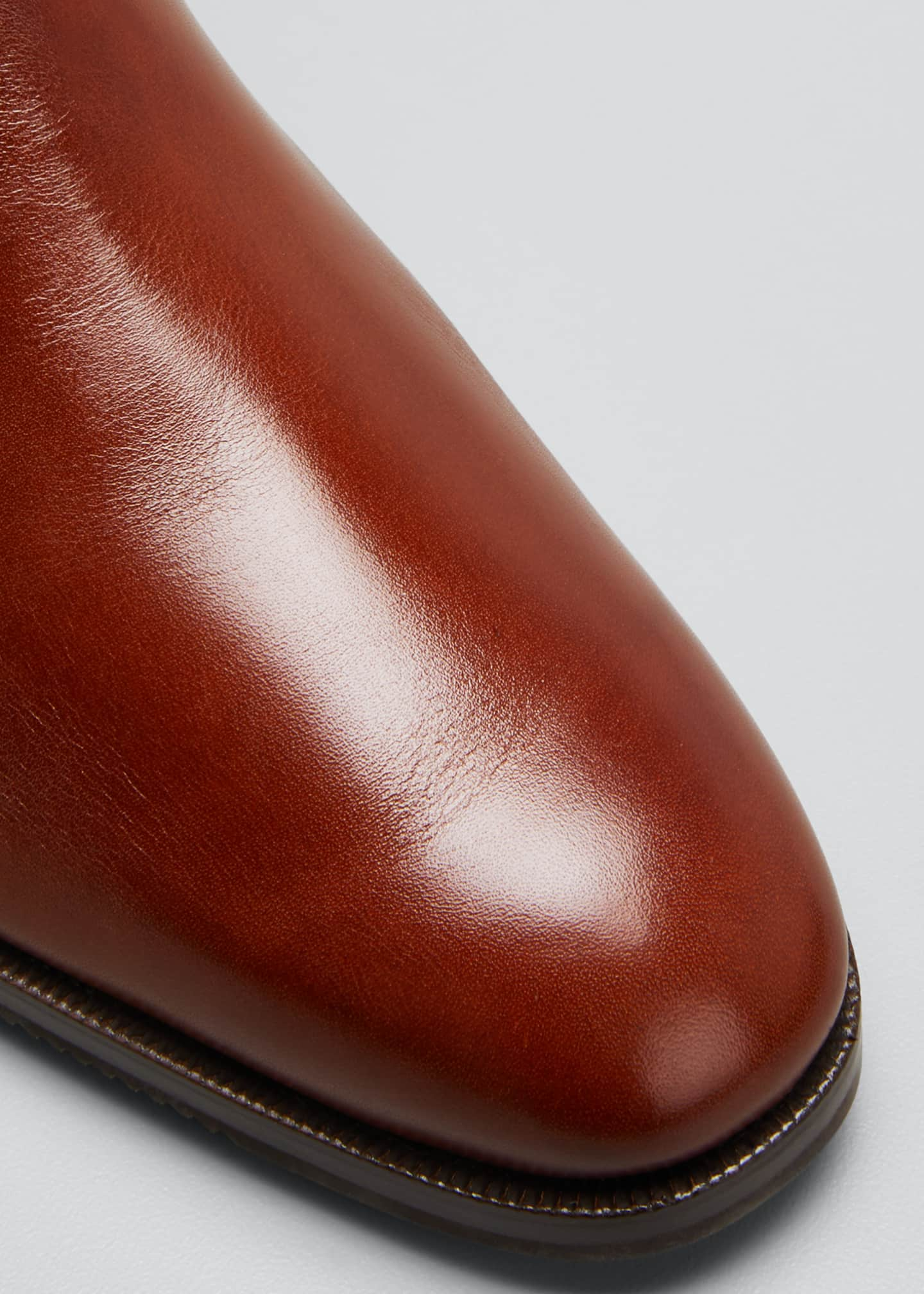 Image 5 of 5: Low-Heel Leather Zip Ankle Boot
