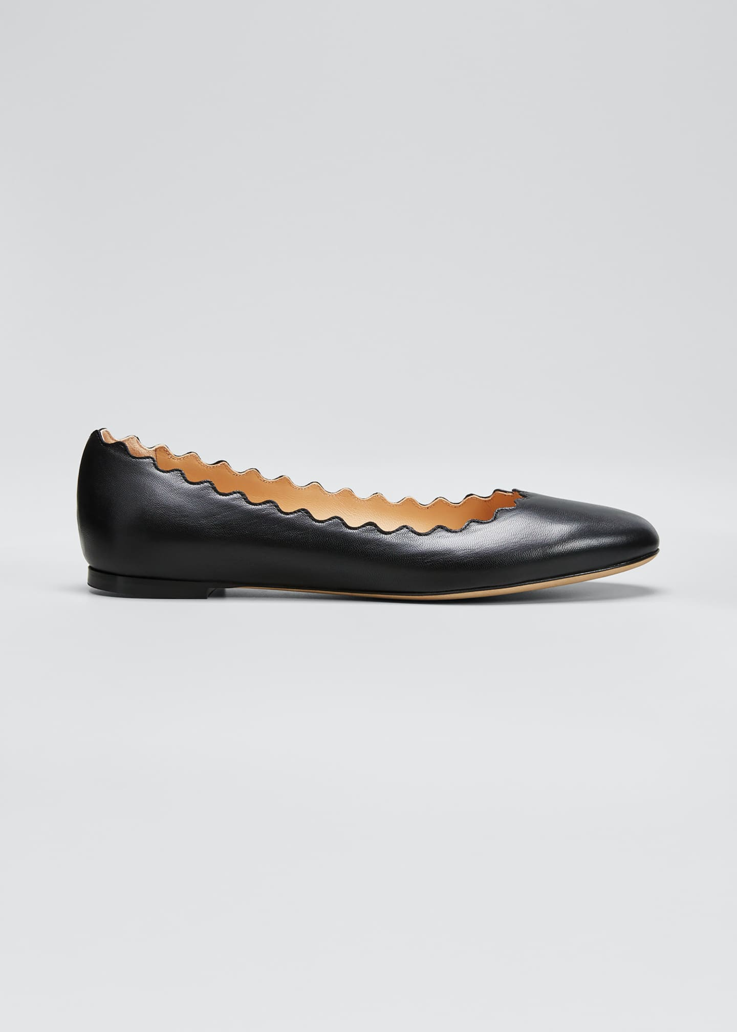 Image 1 of 5: Lauren Scalloped Leather Ballet Flats