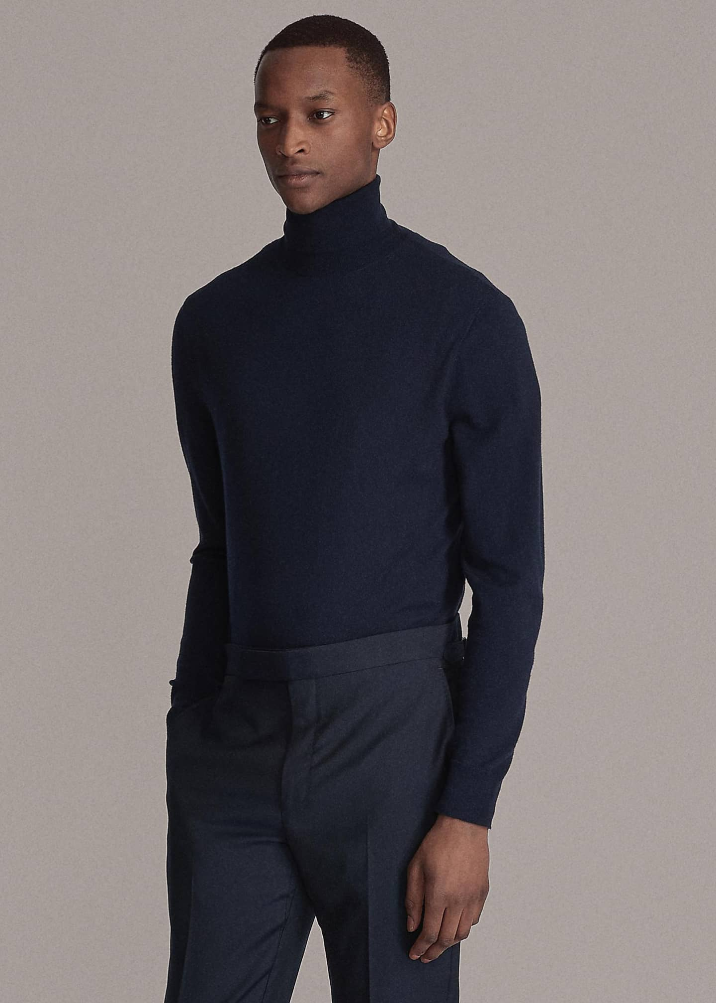 Image 2 of 3: Men's Solid Cashmere Turtleneck Sweater