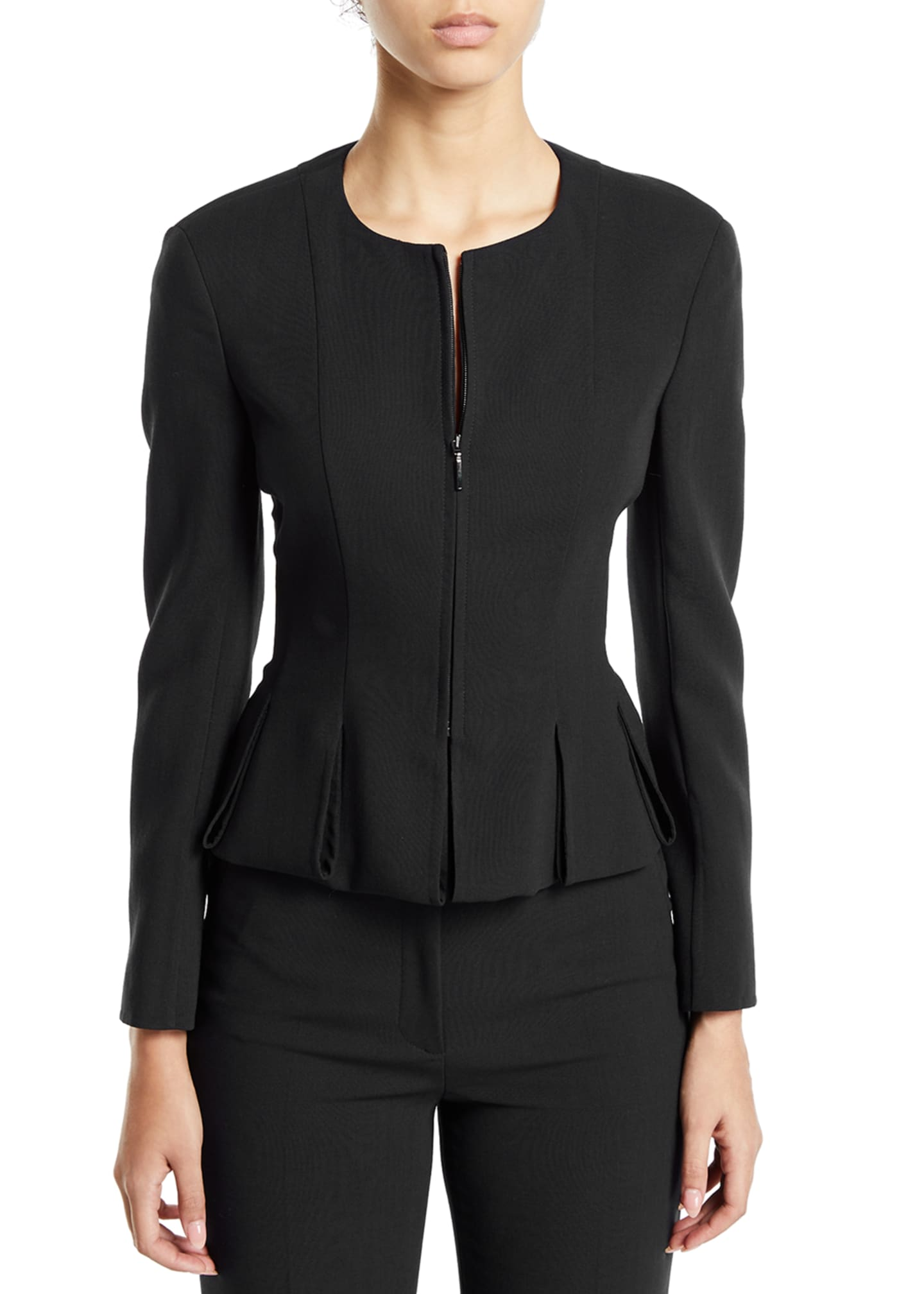 Image 3 of 3: Ilaria Peplum Zip-Front Jacket