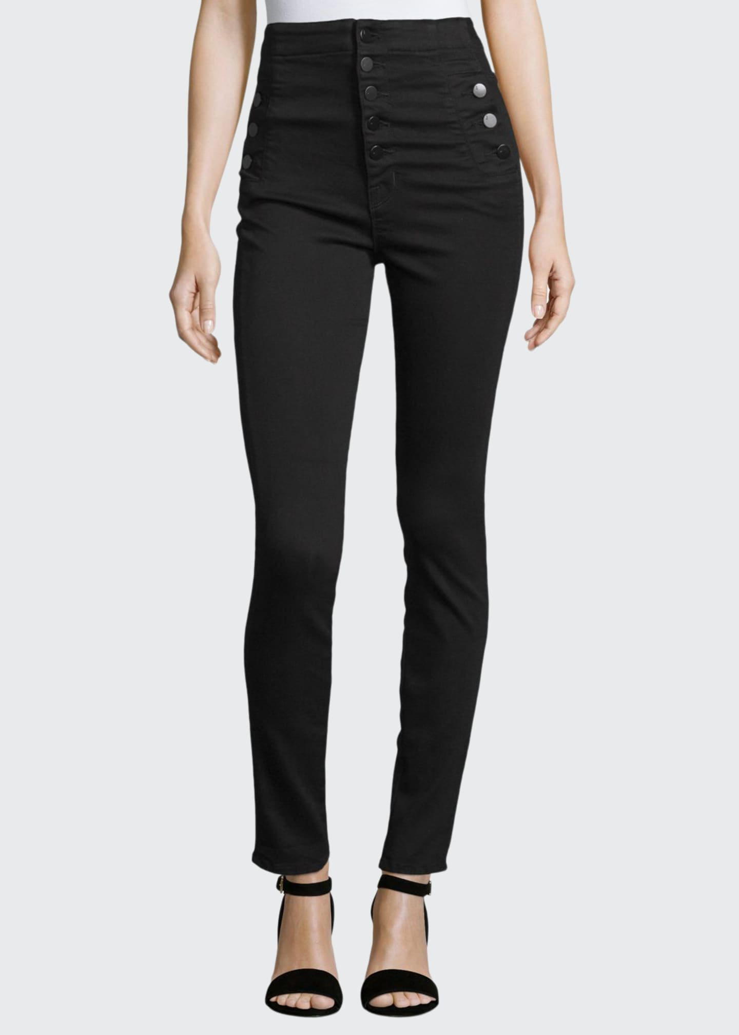 J Brand Natasha High-Waist Skinny Jeans, Black