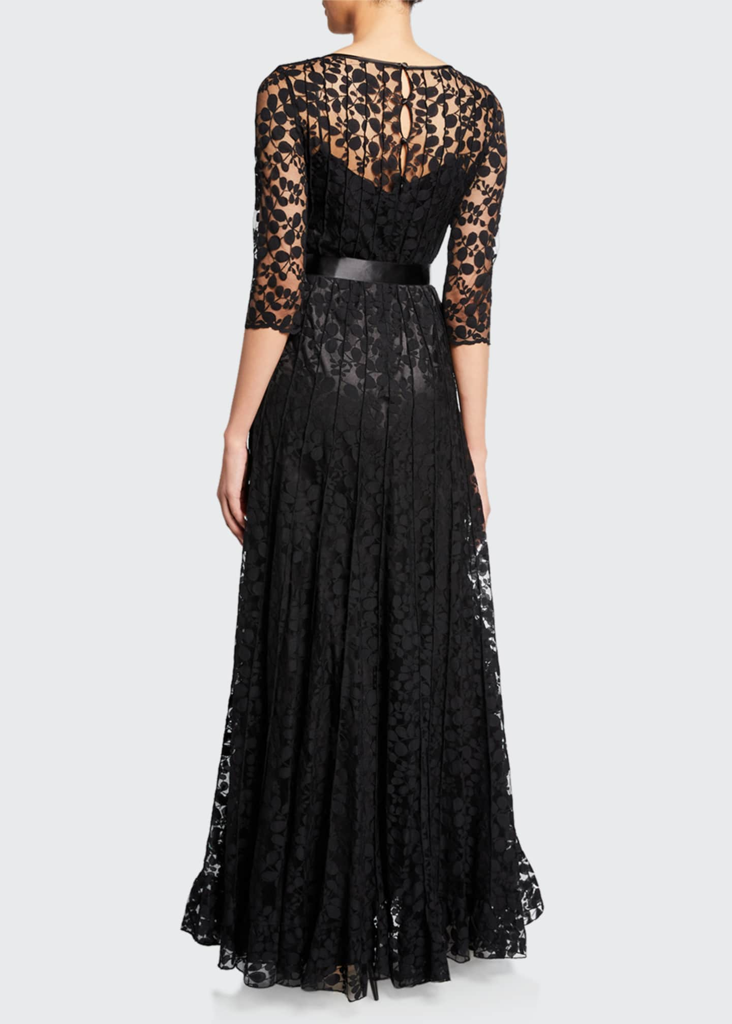 Image 2 of 2: 3/4-Sleeve Lace Overlay Gown