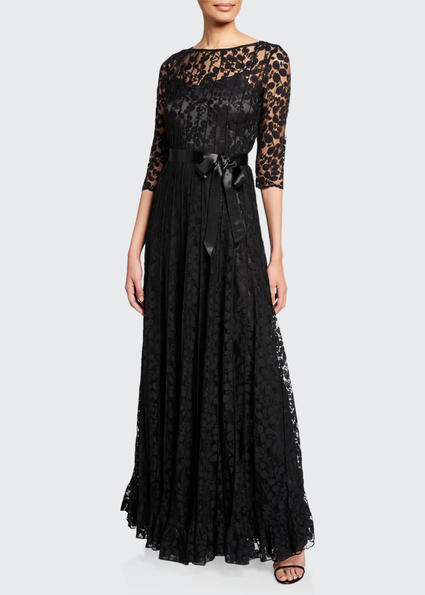 Image 1 of 2: 3/4-Sleeve Lace Overlay Gown