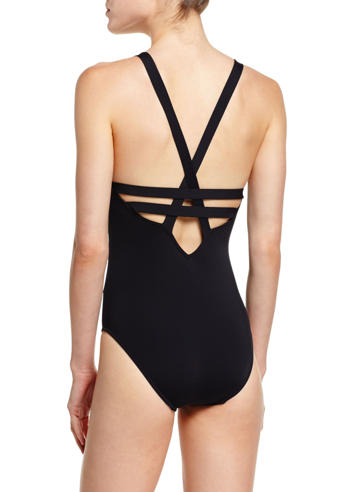 Image 2 of 2: Active Deep V-Neck One-Piece Swimsuit, Black