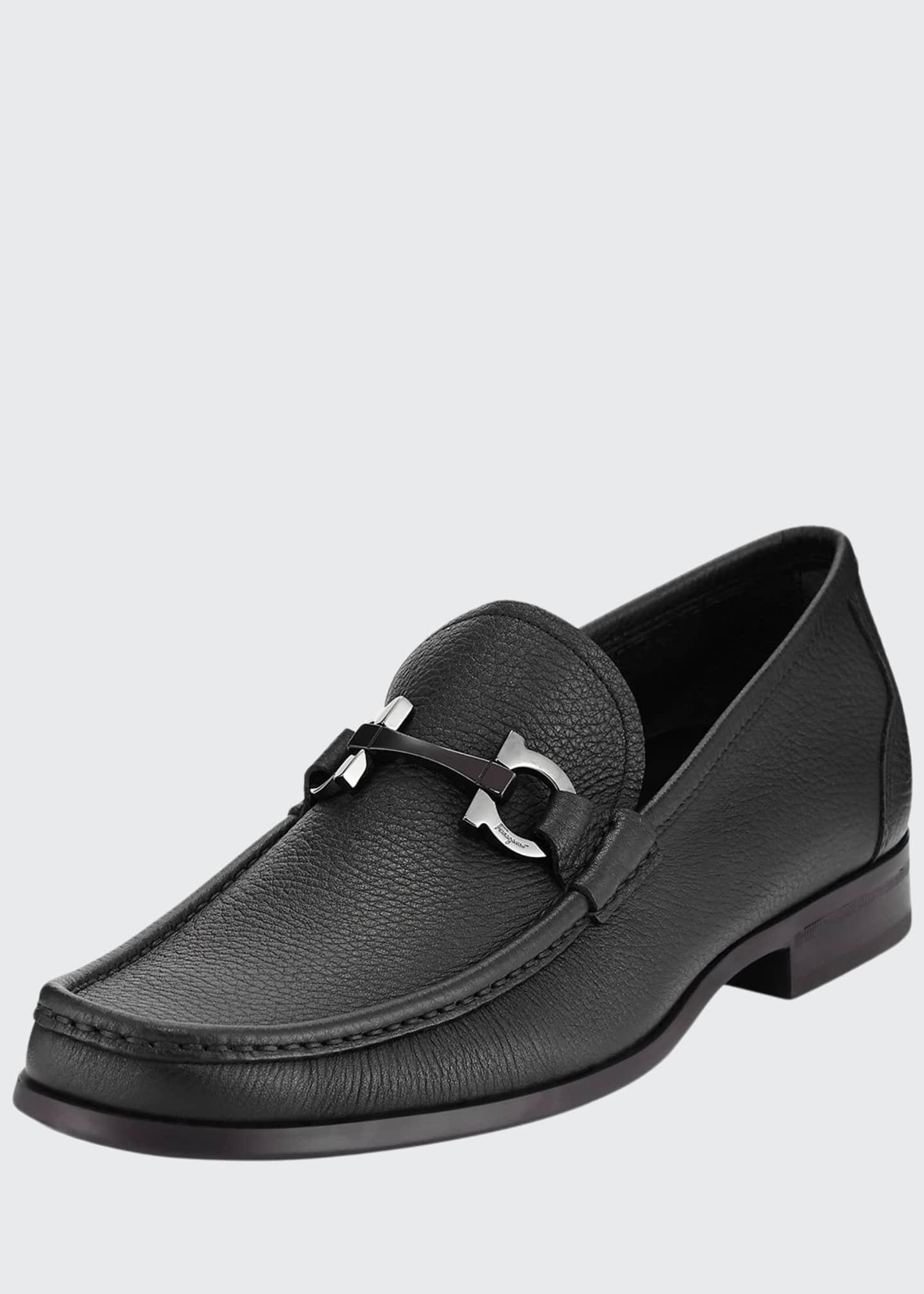 Salvatore Ferragamo Men's Grained Calf Leather Bit Loafer