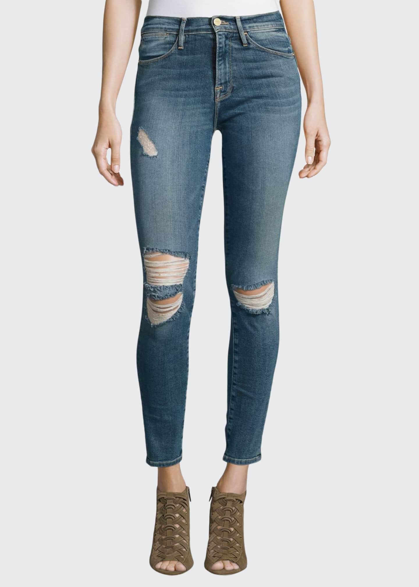 FRAME Le High Distressed Skinny Jeans, Harvard