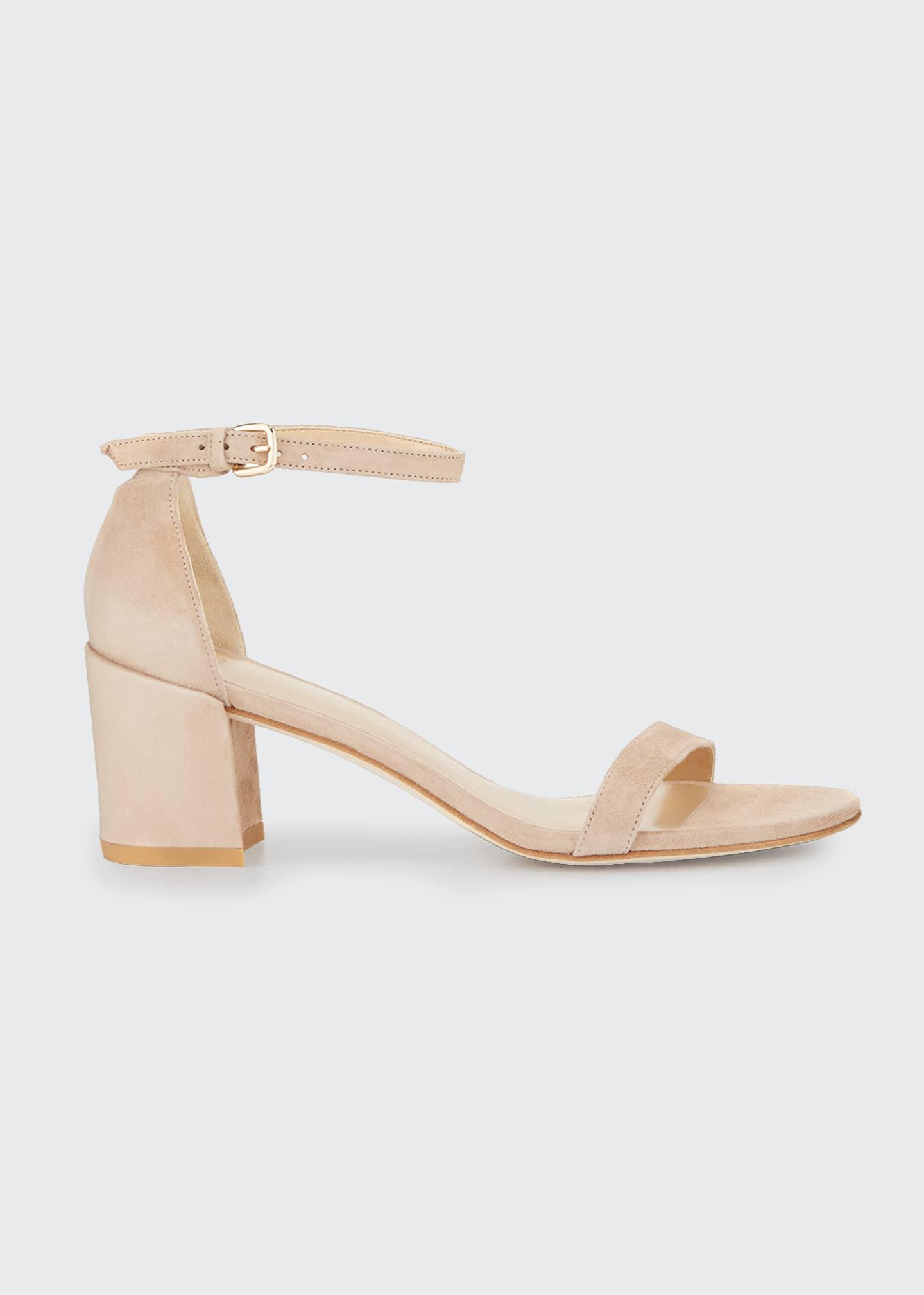 Stuart Weitzman Simple Suede Chunky-Heel City Sandals