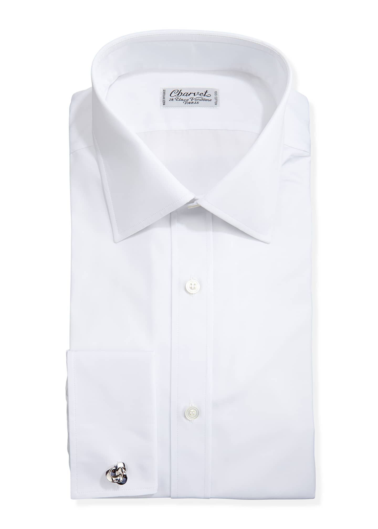 Image 1 of 2: Solid Poplin French-Cuff Shirt, White
