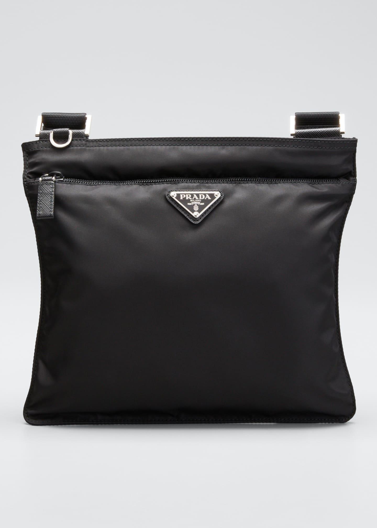 Prada Vela Flat Crossbody Bag, Black (Nero)