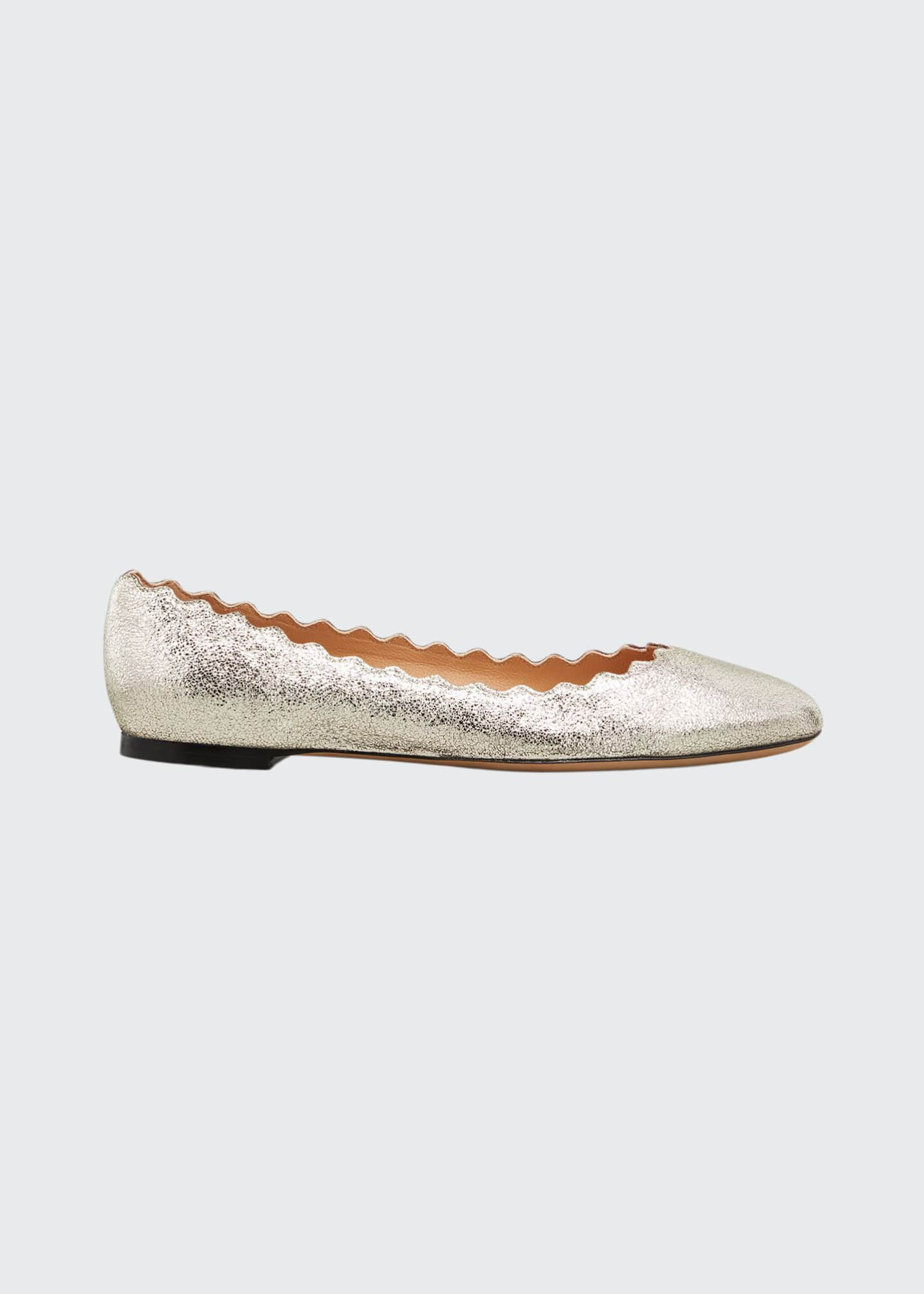 Chloe Lauren Scalloped Metallic Leather Ballet Flats
